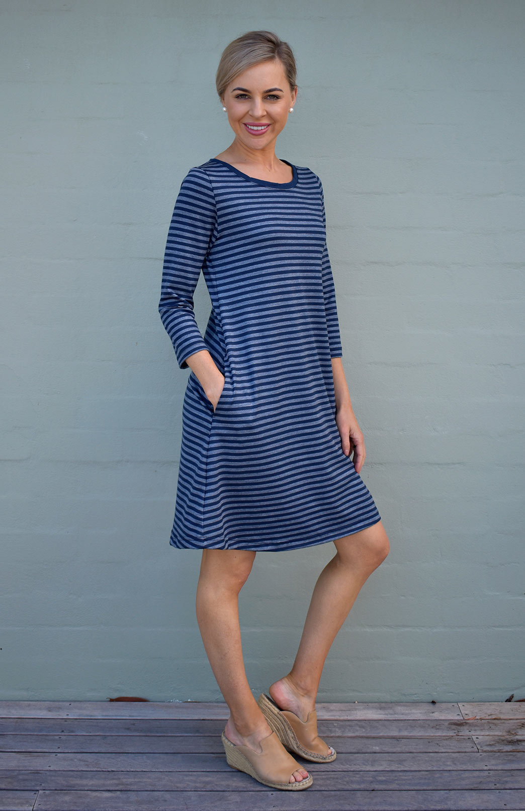 Ellie Dress - Women's Blue and Grey Striped A-Line Swing Dress with 3/4 sleeves and Side Pockets - Smitten Merino Tasmania Australia