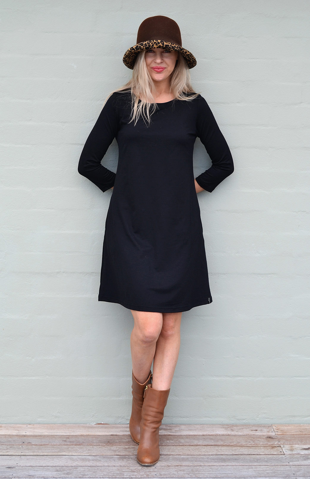 Ellie Swing Dress - Women's Black Superfine Merino Wool Swing Dress with sleeves and pockets - Smitten Merino Tasmania Australia