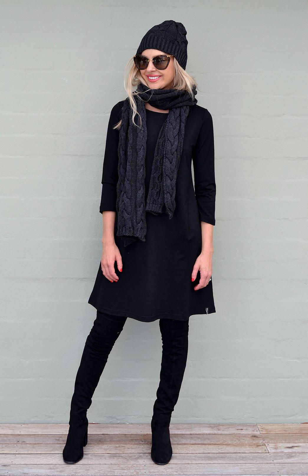 Ellie Dress - Women's Black Merino Wool Classic Ellie Dress - Smitten Merino Tasmania Australia