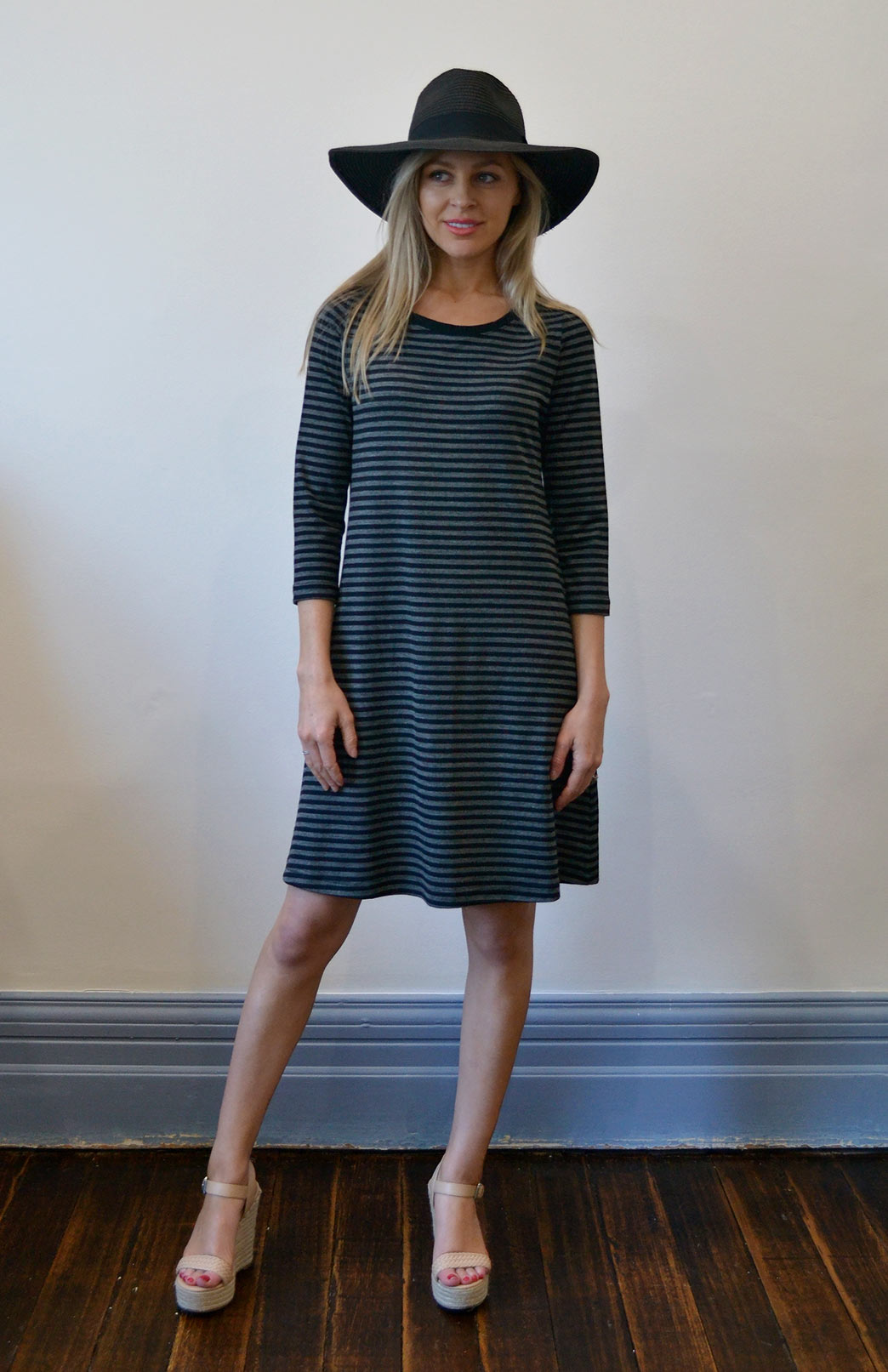 Ellie Swing Dress - Women's Black and Grey Superfine Merino Wool Swing Dress with sleeves and pockets - Smitten Merino Tasmania Australia