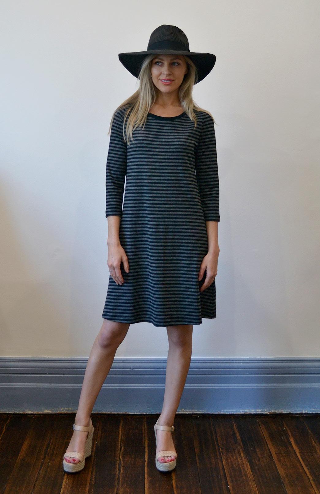 Ellie Swing Dress - Women's Black and Grey Superfine Merino Wool Swing Dress with sleeves and pockets - Smitten Merino Tasmania Australia