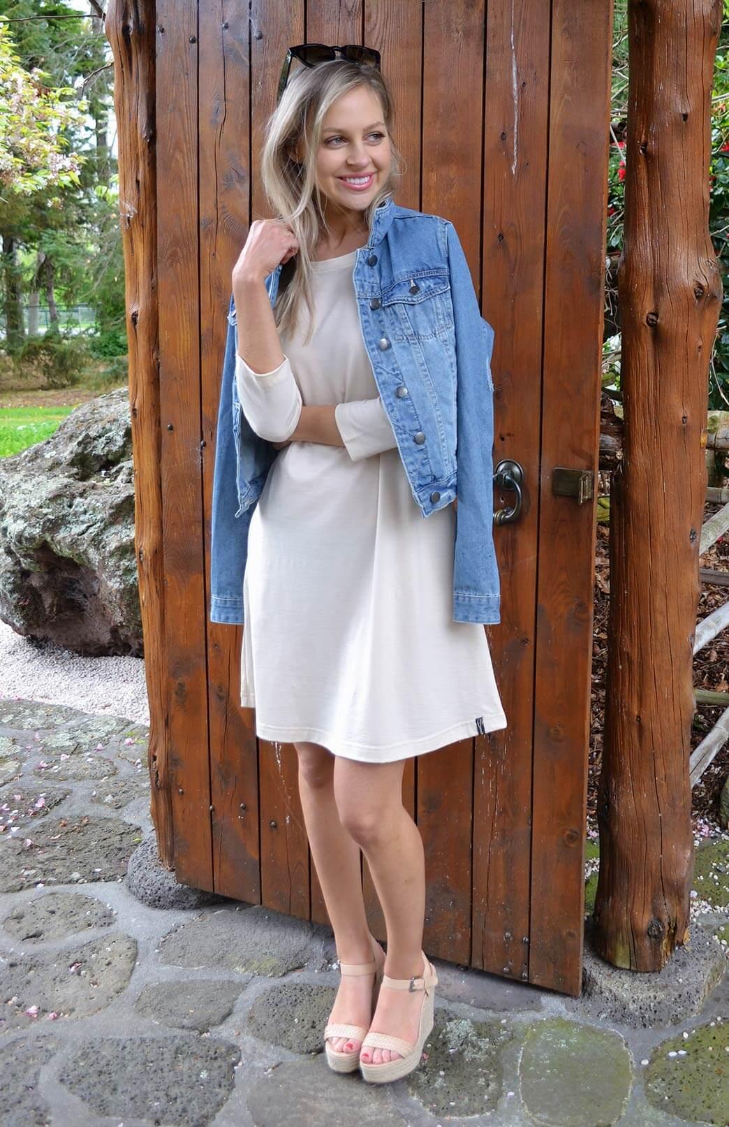 Ellie Swing Dress - Women's Cream Merino Swing Dress with sleeves and pockets - Smitten Merino Tasmania Australia