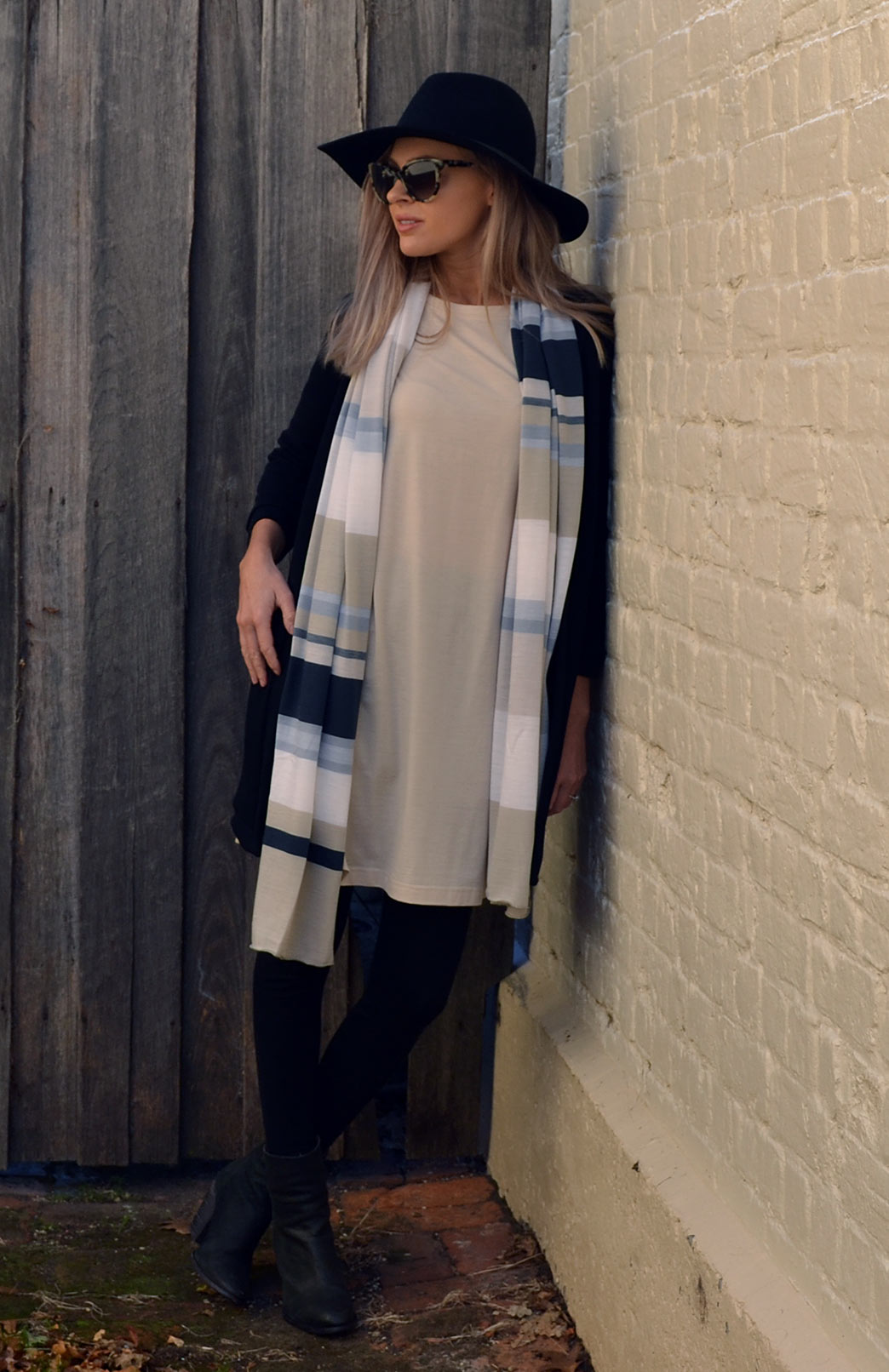 Scarves - Multi Striped - Women's Ivory and Steel Grey Multi Striped Wool Scarf - Smitten Merino Tasmania Australia
