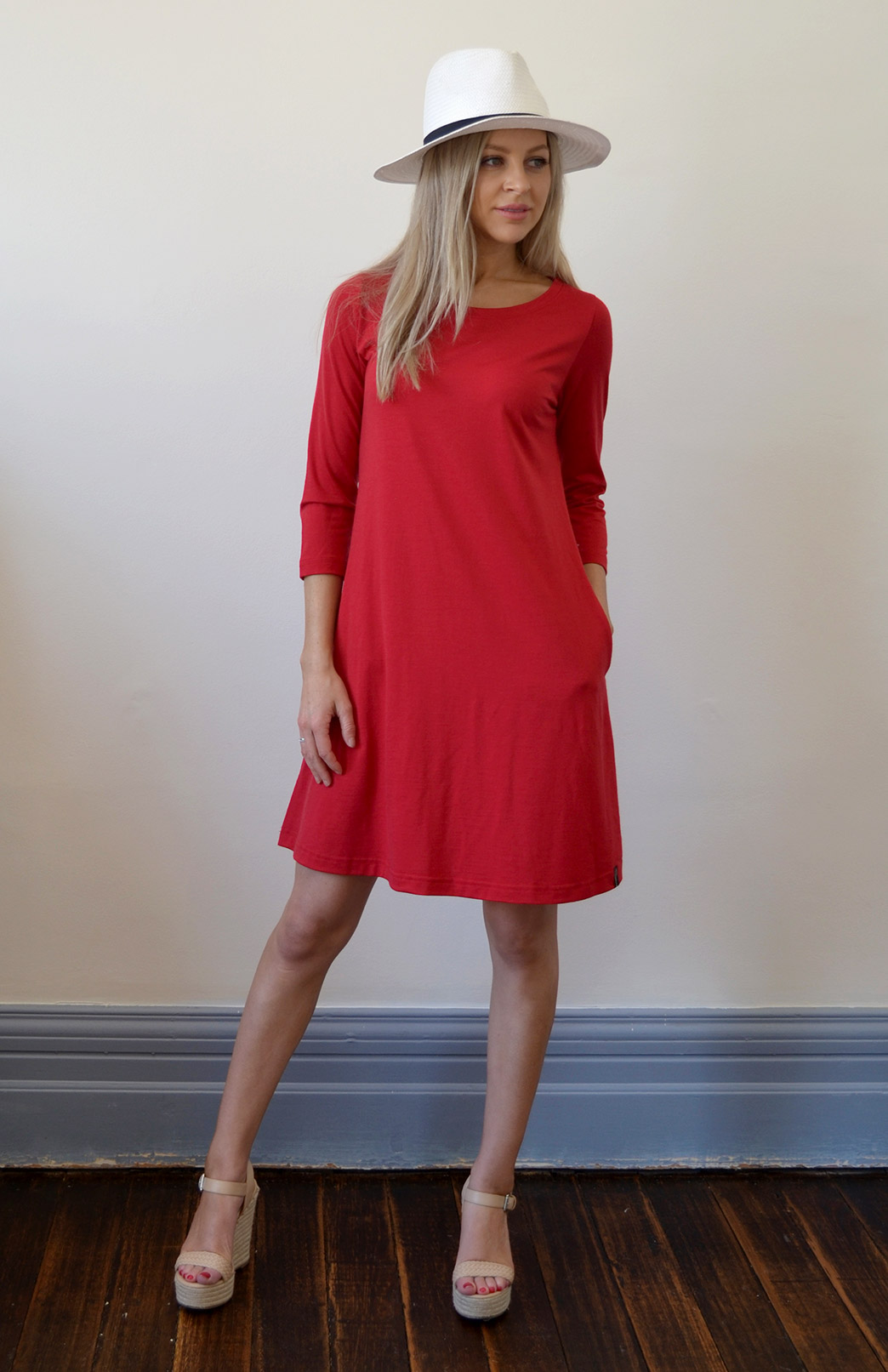 Ellie Swing Dress - Women's Red Superfine Merino Wool Swing Dress - Smitten Merino Tasmania Australia