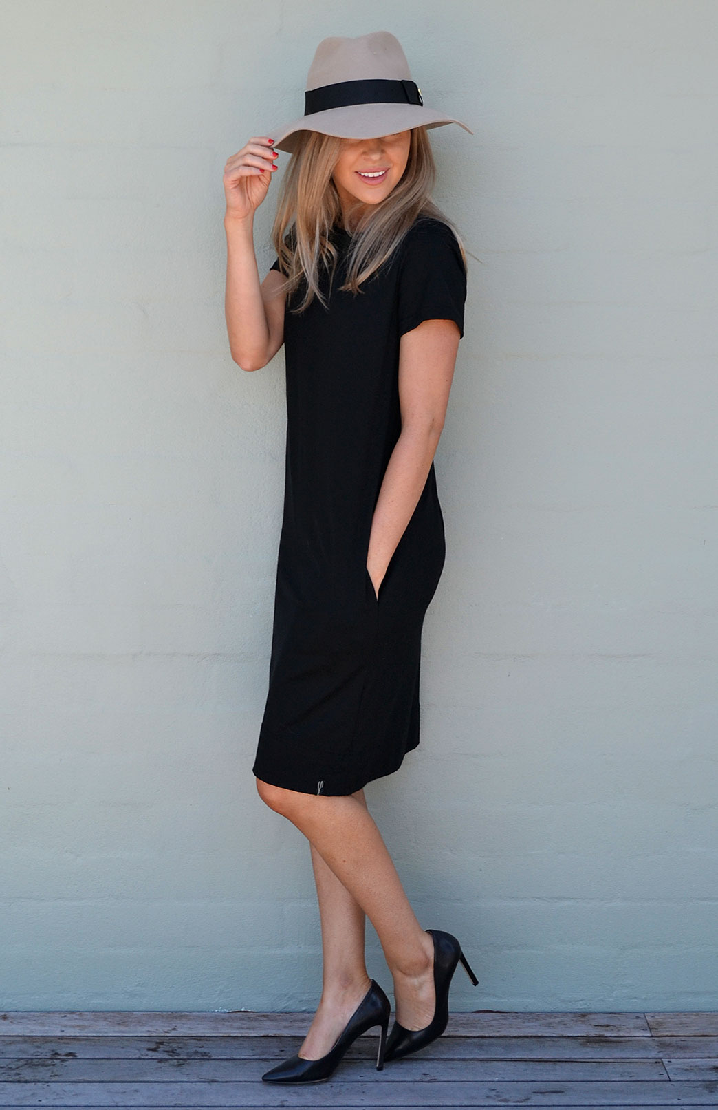 Tiffany Shift Dress - Women's Merino Wool Black Short Sleeved Shift Dress - Smitten Merino Tasmania Australia