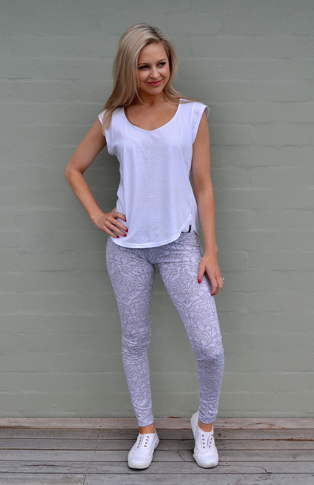 Leggings - Patterned - Women's Soft Grey and White Floral Patterned Merino Wool Leggings - Smitten Merino Tasmania Australia