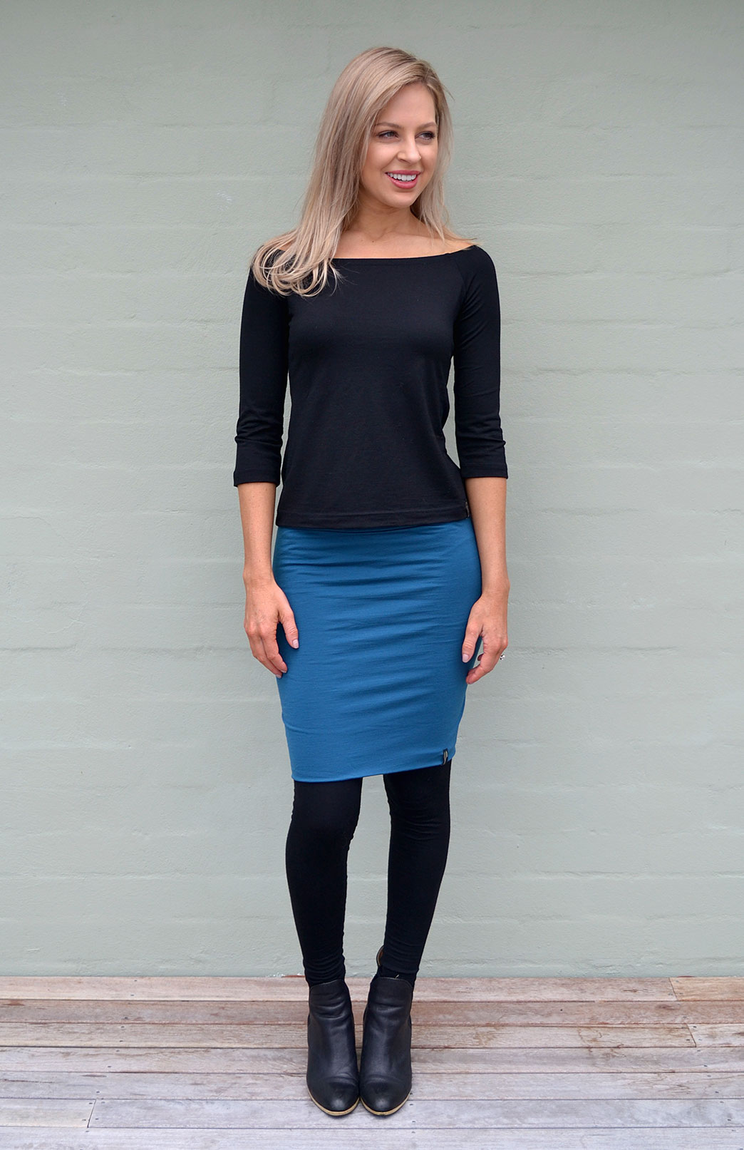 3/4 Sleeve Olivia Top in Black