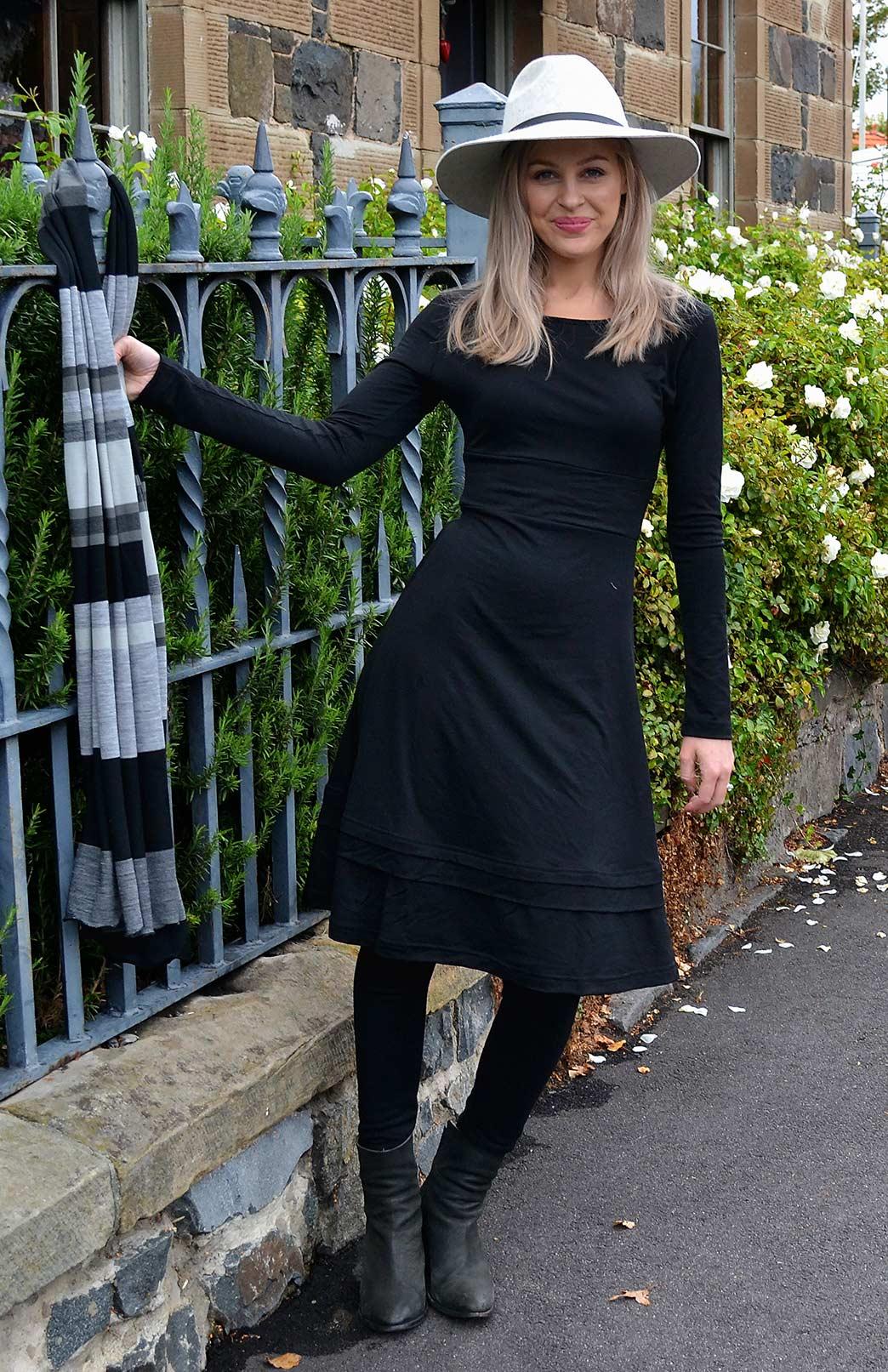 Indi Dress - Women's Black Merino Wool Classic Winter Dress - Smitten Merino Tasmania Australia