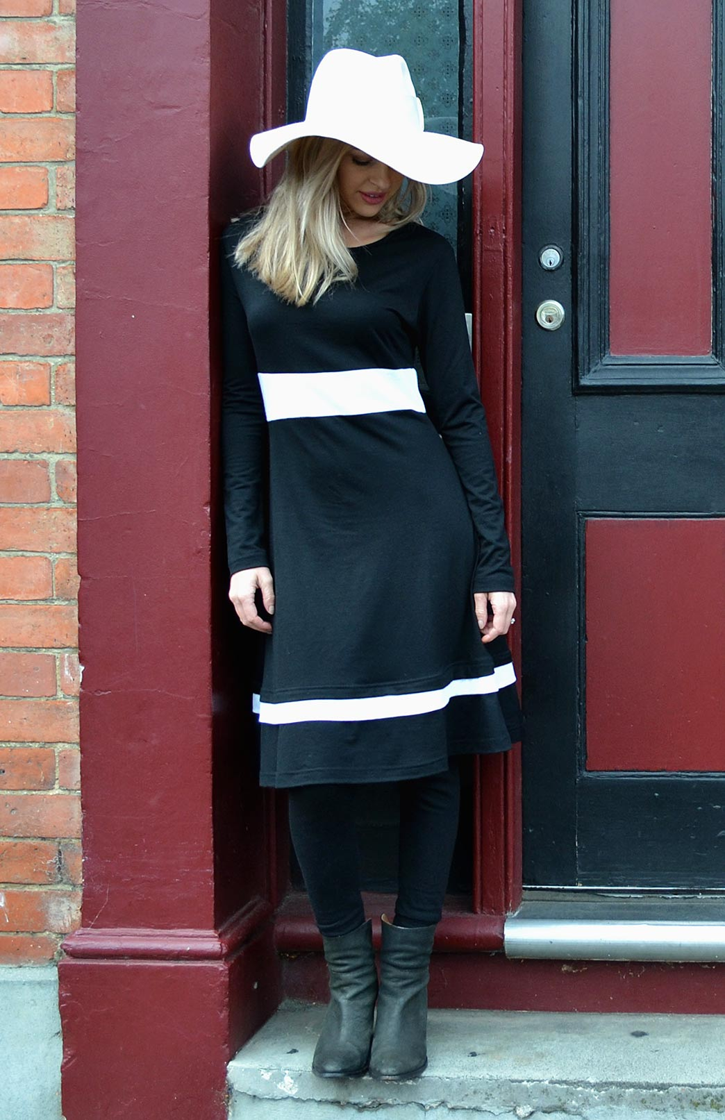 Indi Dress - Women's Black & Cream Long Sleeve Winter Wool Dress - Smitten Merino Tasmania Australia