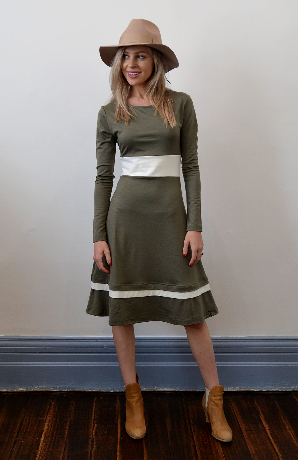 Indi Dress - Women's Long Sleeved Olive Winter Wool Dress - Smitten Merino Tasmania Australia