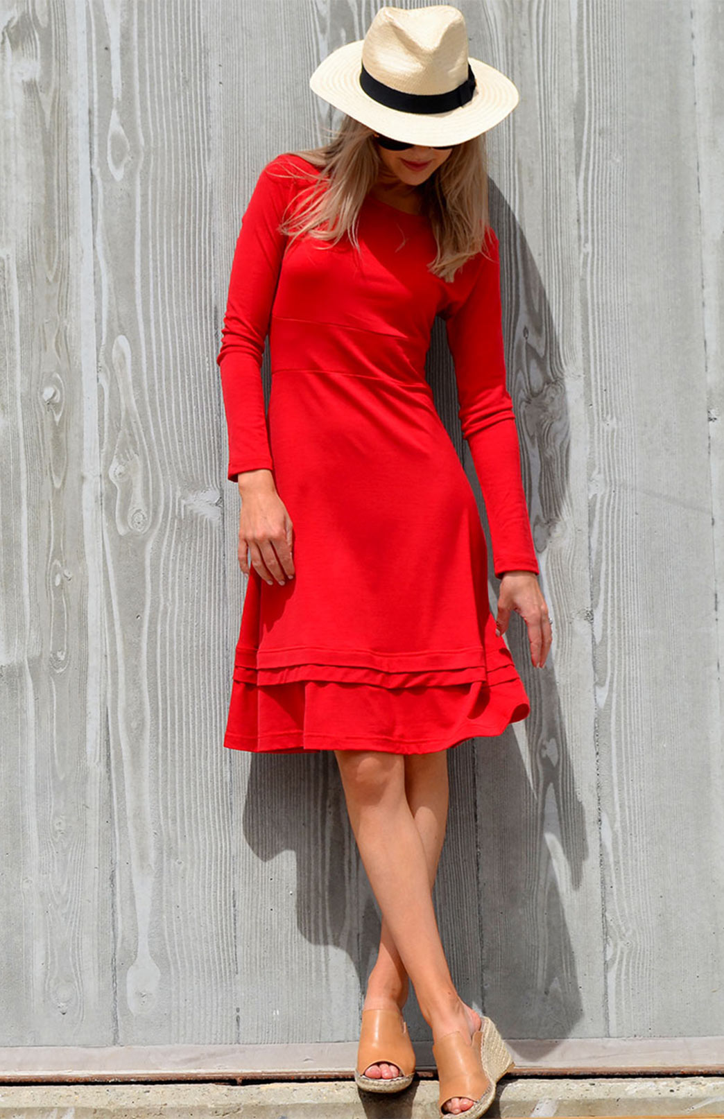 Indi Dress - Women's Long Sleeved Flame Red Winter Wool Dress - Smitten Merino Tasmania Australia