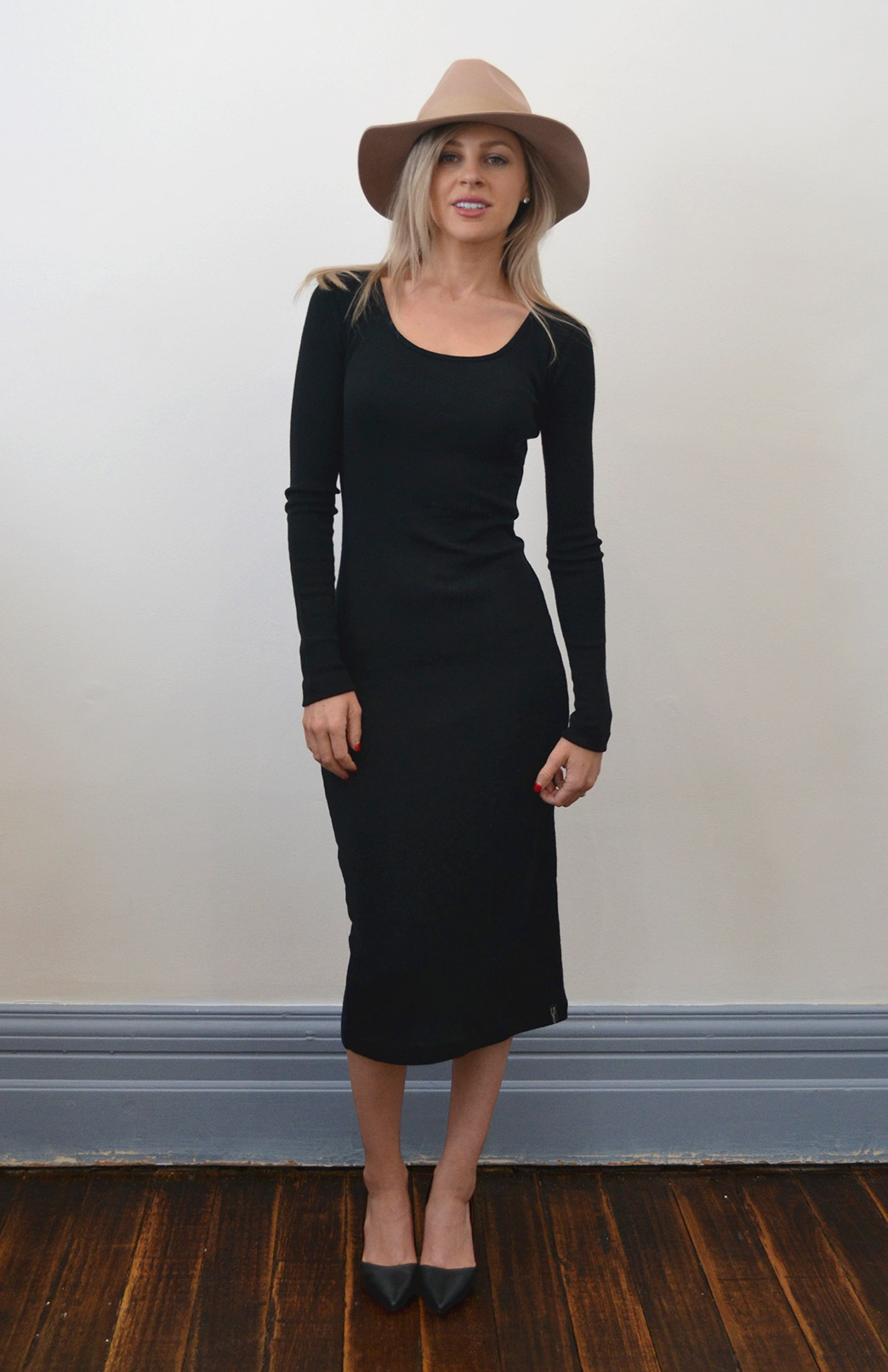 Lana Midi Dress - Women's Black Winter Wool Midi Length Dress with long sleeves - Smitten Merino Tasmania Australia