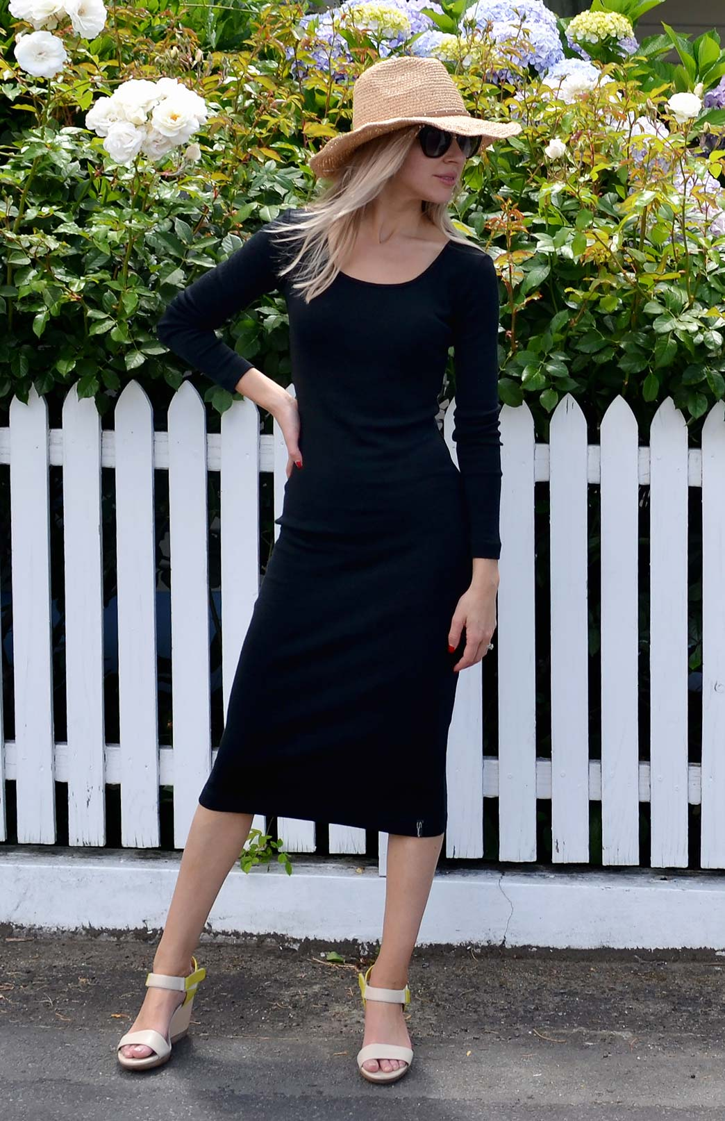 Lana Midi Dress - Women's Black Long Sleeve Winter Wool Dress - Smitten Merino Tasmania Australia