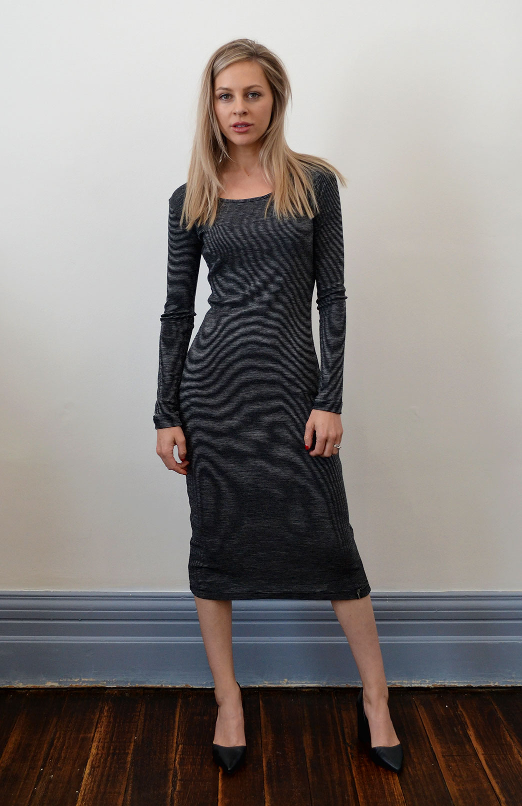Lana Midi Dress - Women's Black Stripe Long Sleeve Wool Winter Dress - Smitten Merino Tasmania Australia