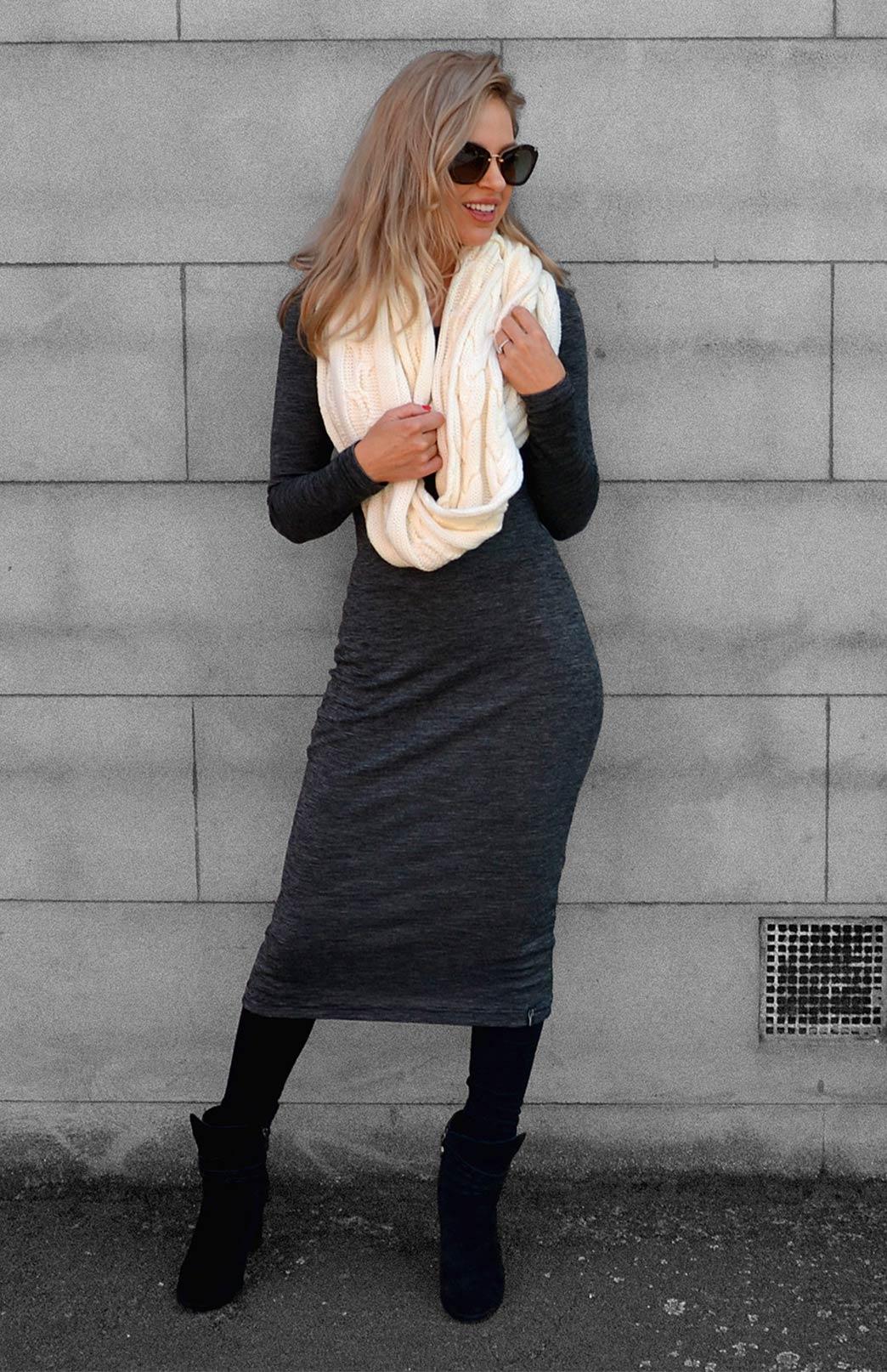 Lana Dress - Women's Black Pinstripe Merino Wool Classic Long Sleeve Dress - Smitten Merino Tasmania Australia