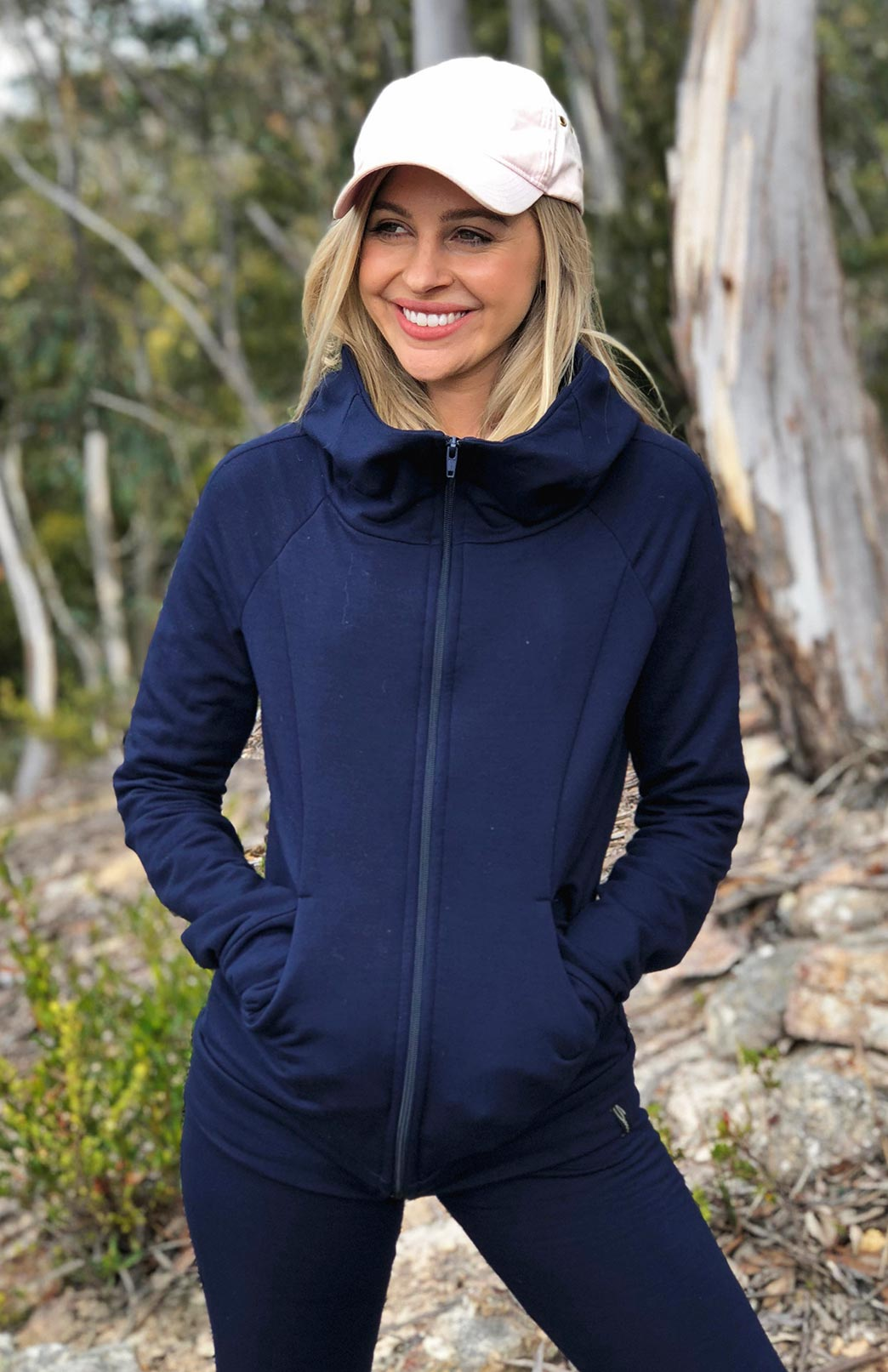 Fitted Fleece Hoody Jacket - Women's French Navy Blue Wool Jacket with pockets and hood - Smitten Merino Tasmania Australia