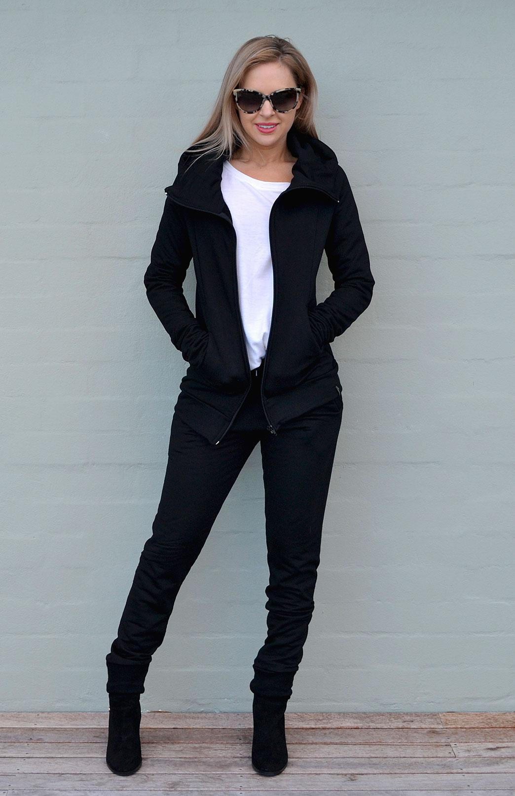 Fitted Fleece Hoody Jacket - Women's Black Wool Jacket with pockets and hood - Smitten Merino Tasmania Australia