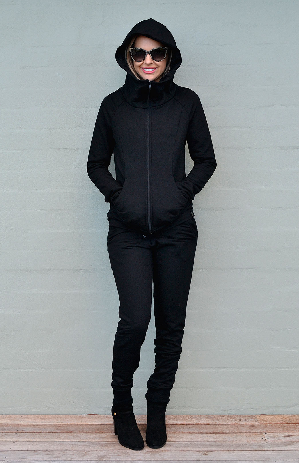 Track Set - Women's Black Wool Track Set of Lounge Pants and Fitted Hoody Jacket - Smitten Merino Tasmania Australia