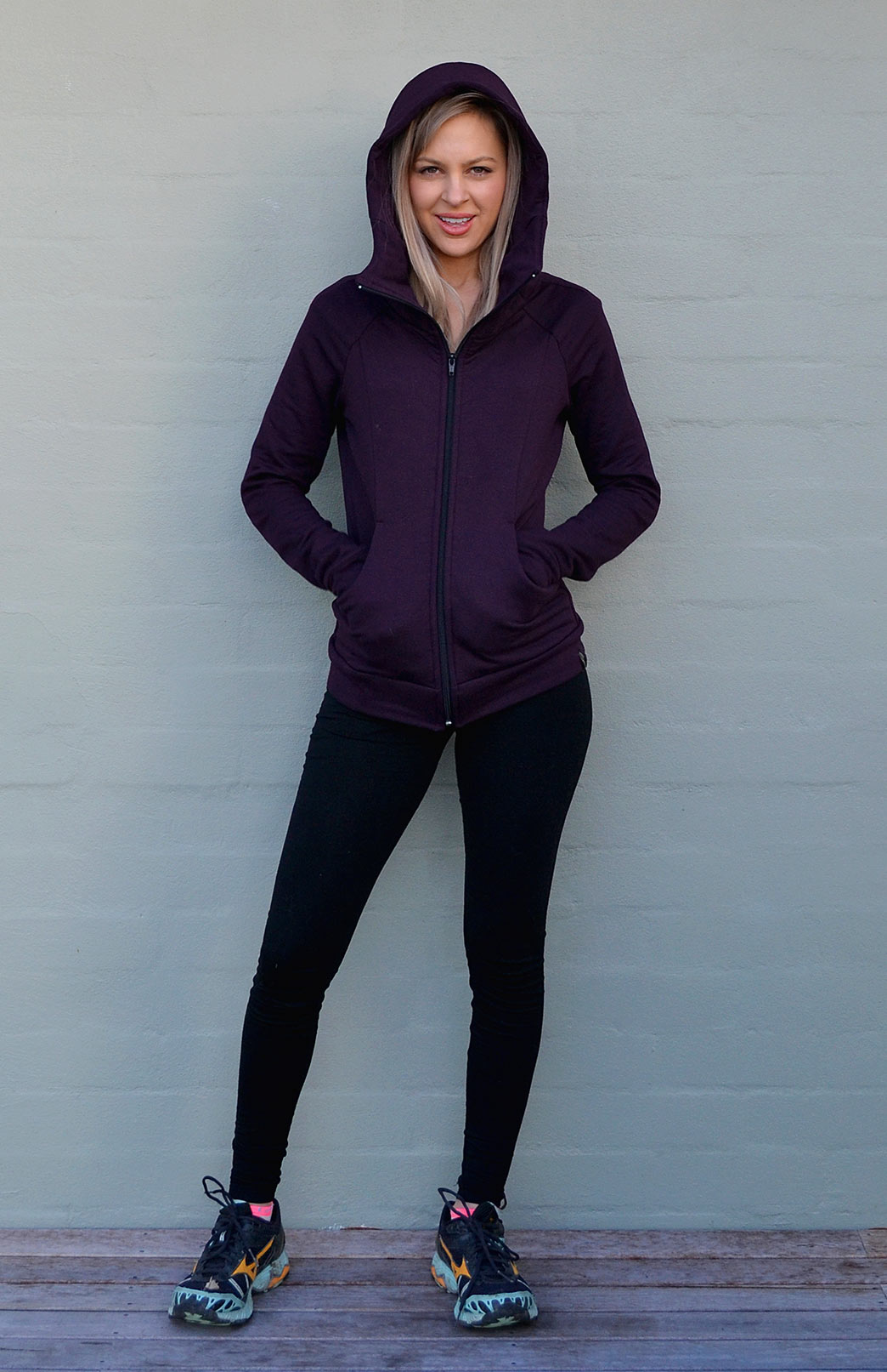 Fitted Fleece Hoody Jacket - Women's Merino Wool Fleece Classic Fitted Winter Jacket With Hood - Smitten Merino Tasmania Australia