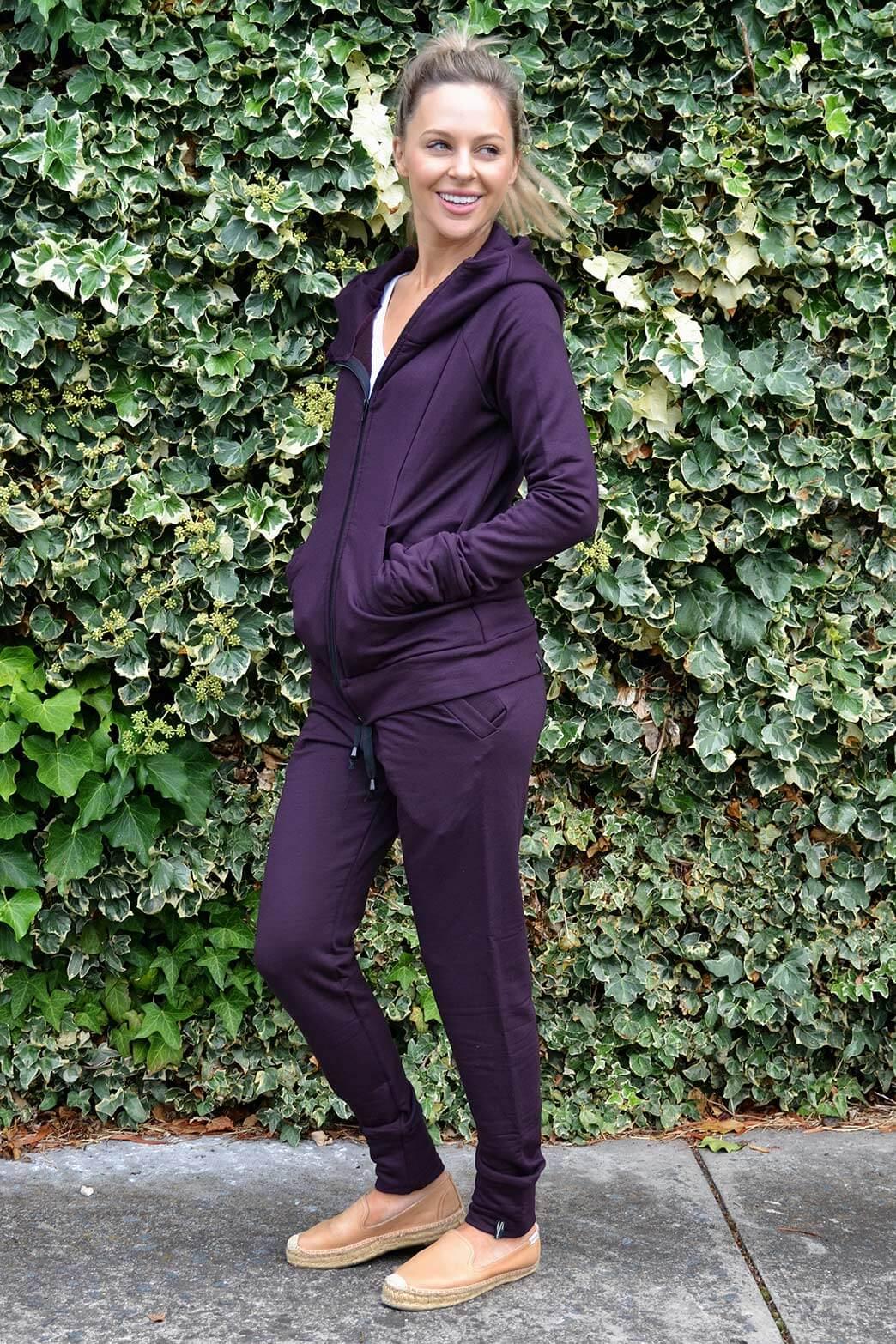 Track Set - Women's Plum Purple Wool Track Set of Lounge Pants and Fitted Hoody Jacket - Smitten Merino Tasmania Australia