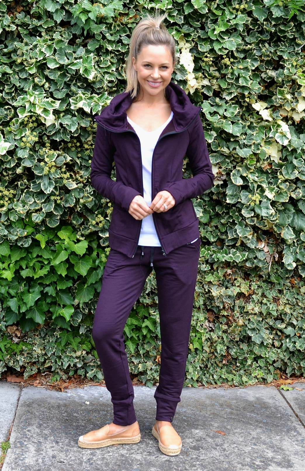 Fitted Fleece Hoody Jacket - Women's Dark Purple Wool Jacket with pockets and hood - Smitten Merino Tasmania Australia