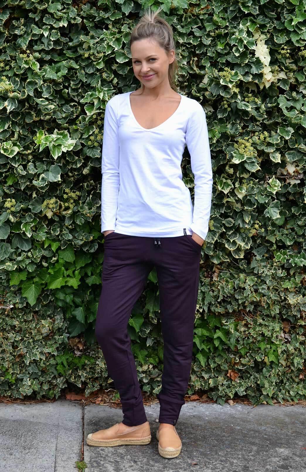 Lounge Pants - Fleece - Women's Purple Fleece Lined Wool Jogger Track pants - Smitten Merino Tasmania Australia