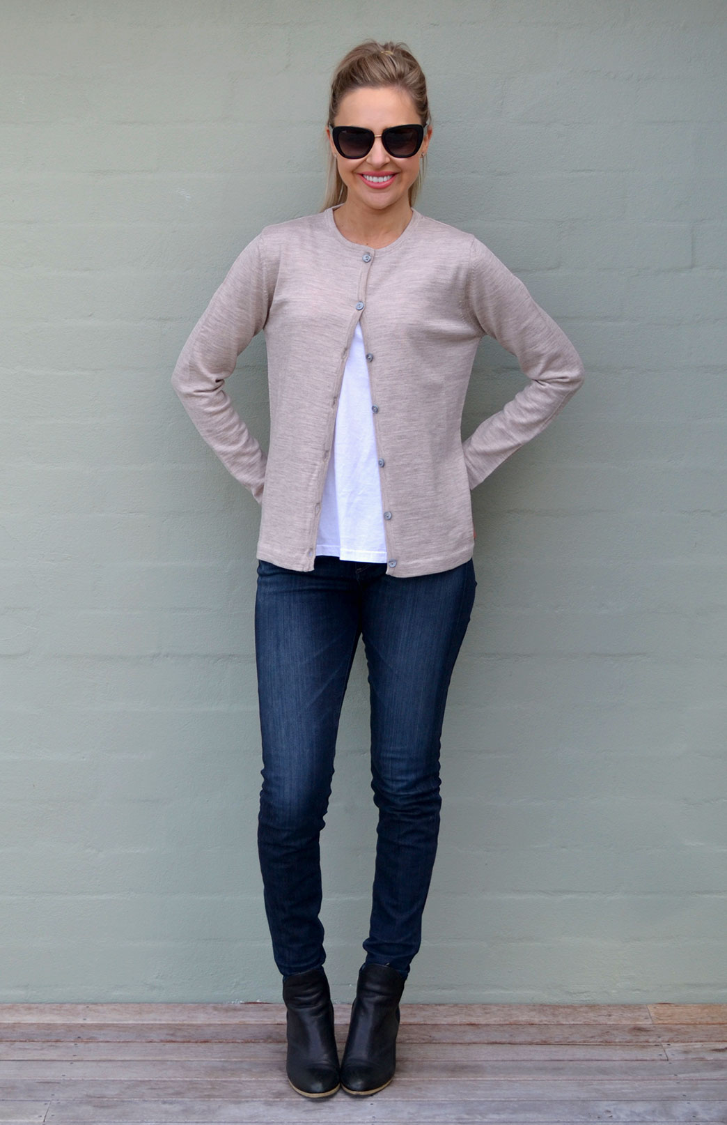 Crew Neck Button Cardigan - Women's Oatmeal Knitted Merino Wool Classic Crew Neck Long Sleeve Button Cardigan - Smitten Merino Tasmania Australia