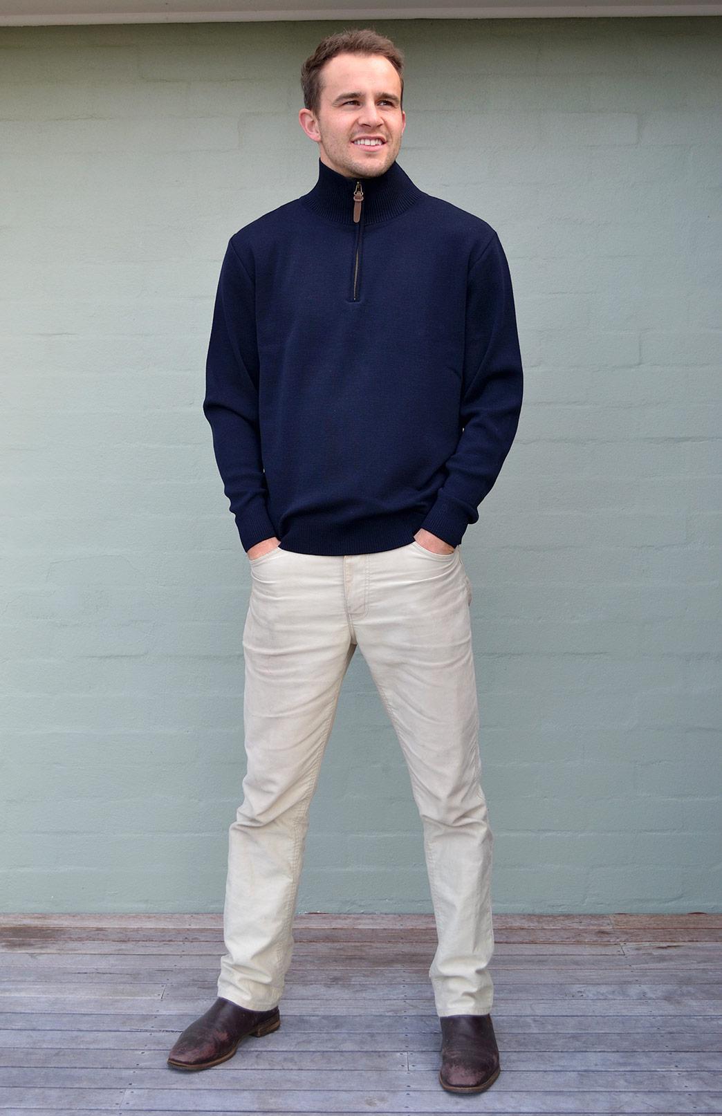 Men's Knitted Wool Zip Neck Jumper - Men's Navy Blue Knitted Superfine Merino Wool Classic Style Zip Neck Jumper - Smitten Merino Tasmania Australia