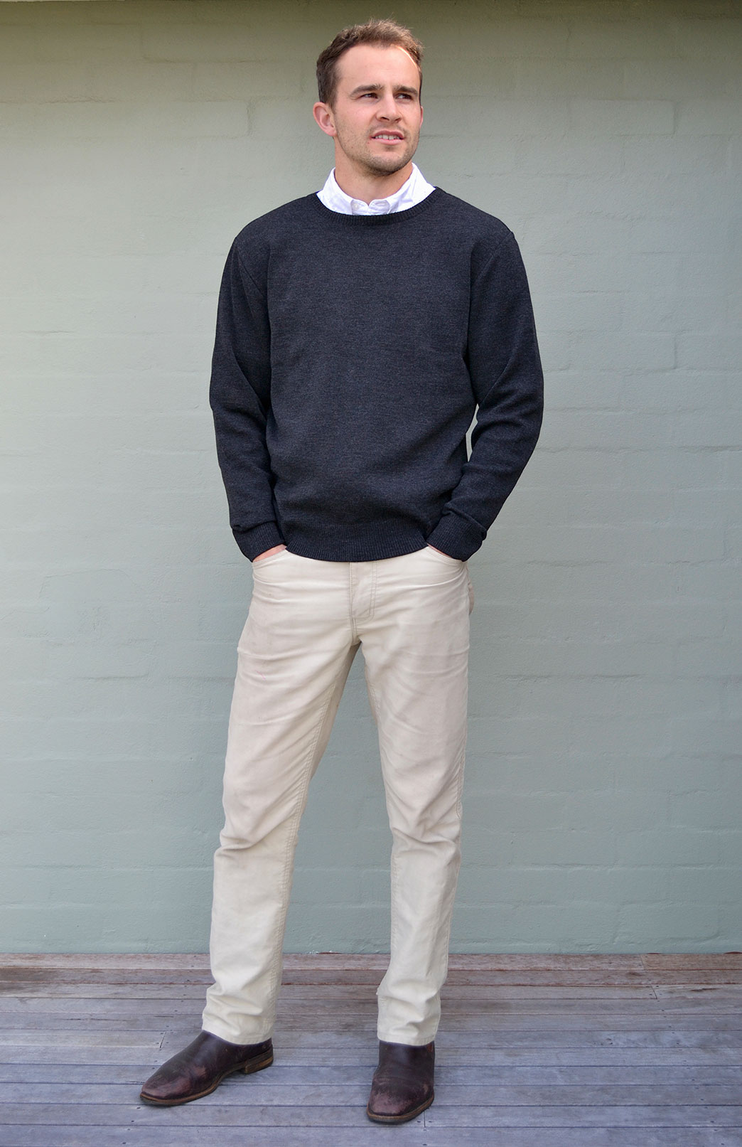 Men's Knitted Wool Round Neck Jumper - Men's Superfine Knitted Merino Wool Classic Style Round Neck Jumper - Smitten Merino Tasmania Australia
