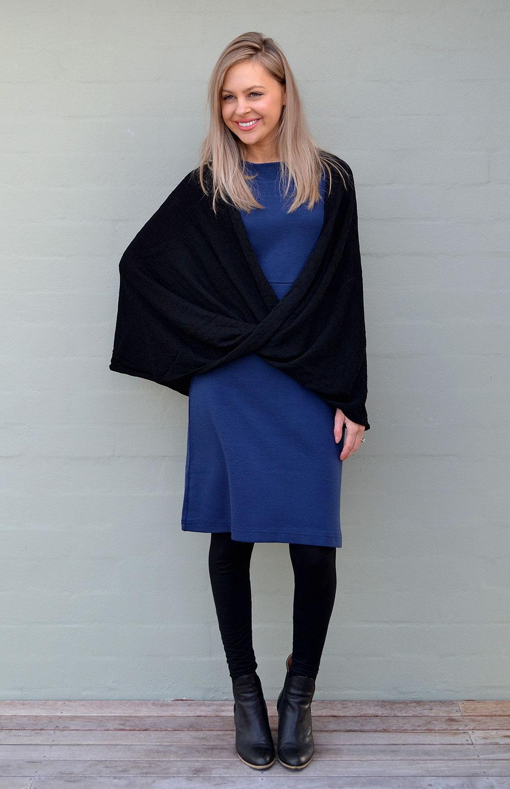 Merino Twisted Wrap - Women's Merino Wool Black Twisted Wrap and Classic Shrug - Smitten Merino Tasmania Australia