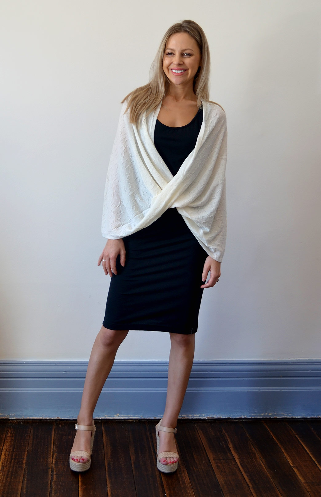 Merino Twisted Wrap - Women's Merino Wool Cream Twisted Wrap and Classic Shrug - Smitten Merino Tasmania Australia
