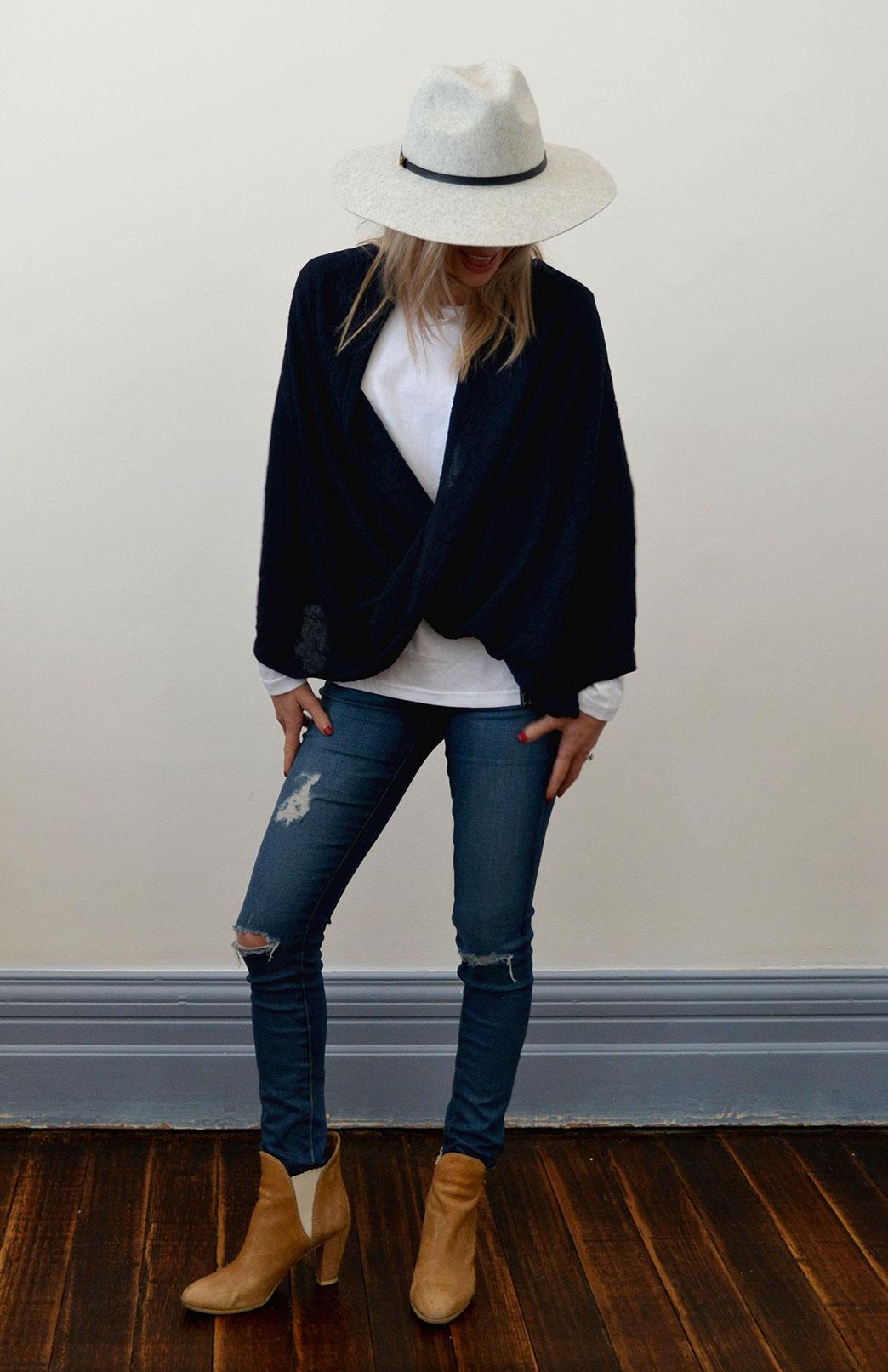 Merino Twisted Wrap - Women's Merino Wool Dark Navy Blue Twisted Wrap and Classic Shrug - Smitten Merino Tasmania Australia