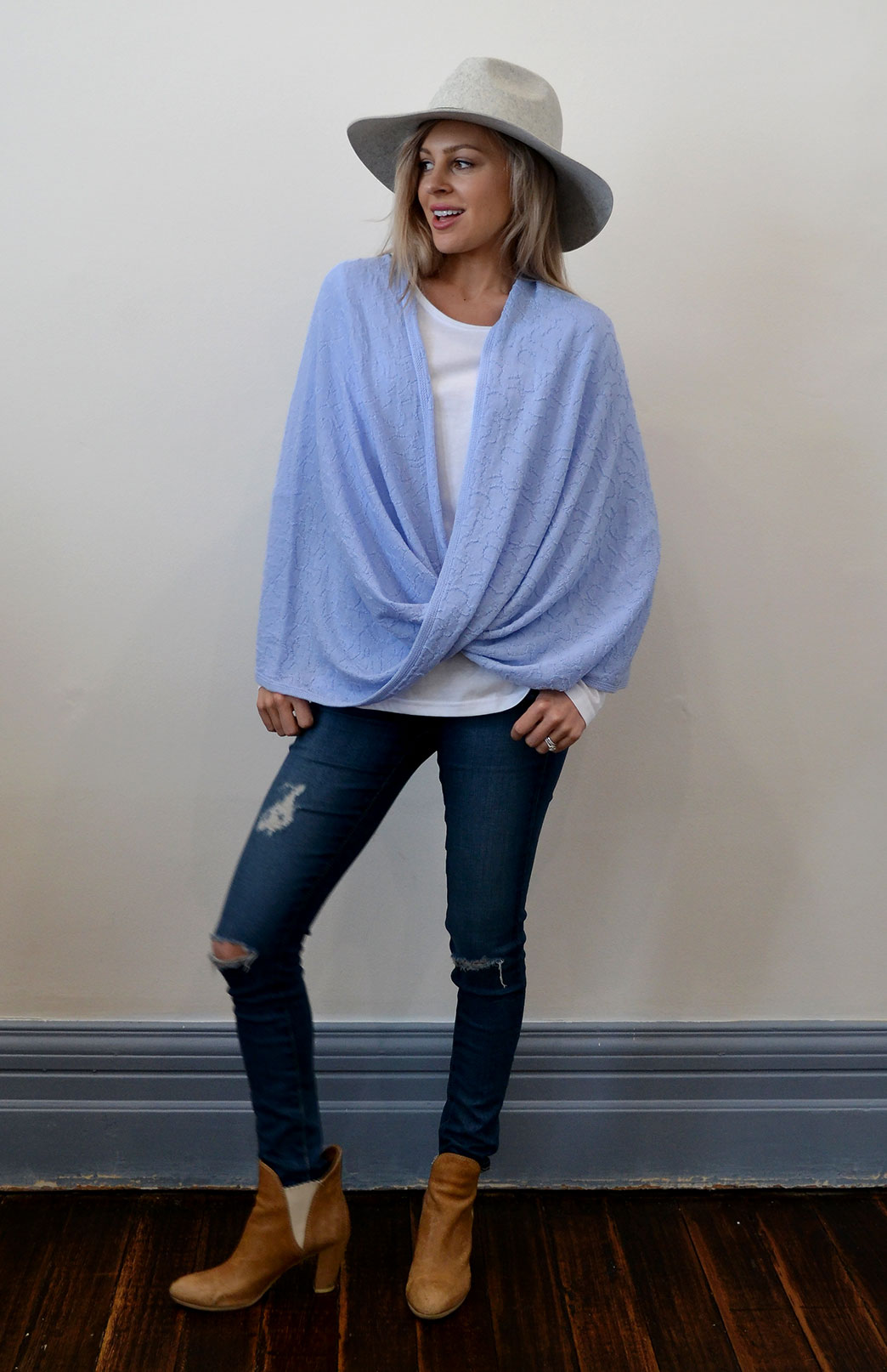 Merino Twisted Wrap - Women's Merino Wool Pale Blue Twisted Wrap and Classic Shrug - Smitten Merino Tasmania Australia