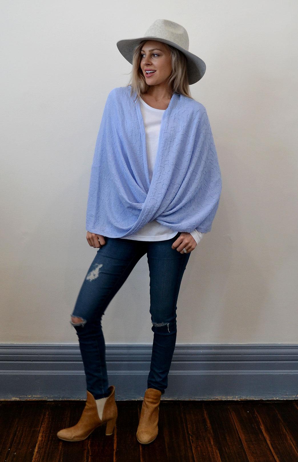 Merino Twisted Wrap - Women's Merino Wool Pale Blue Twisted Wrap and Classic Shrug - Smitten Merino Tasmania Australia