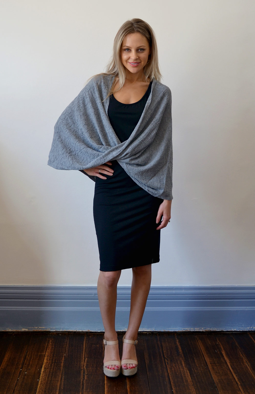 Merino Twisted Wrap - Women's Merino Wool Grey Twisted Wrap and Classic Shrug - Smitten Merino Tasmania Australia