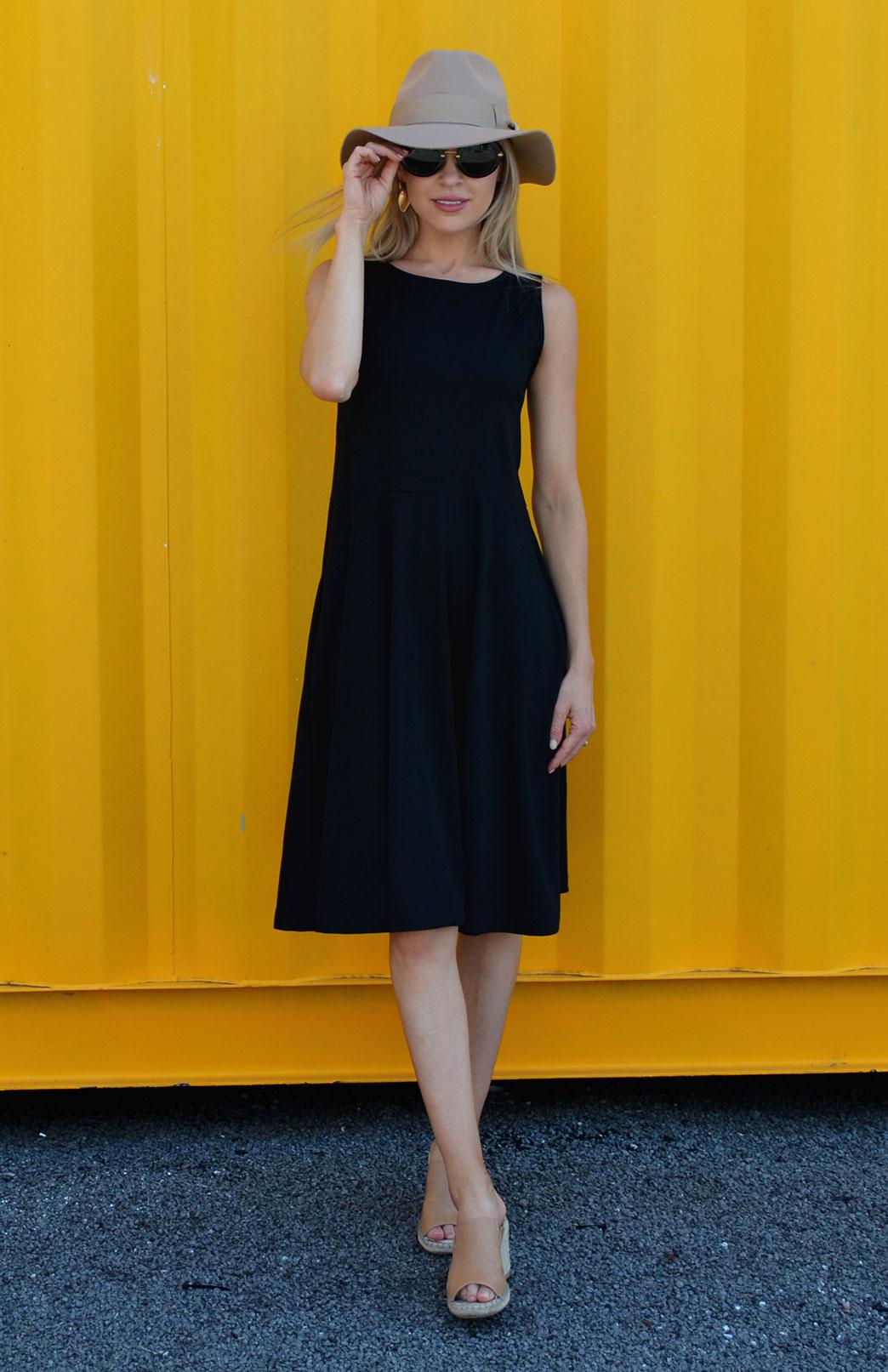 2aa43c186e3a6 MaryAnn Fit and Flare Dress - Women s Black Merino Wool Sleeveless Dress  with Pockets - Smitten. Enlarge