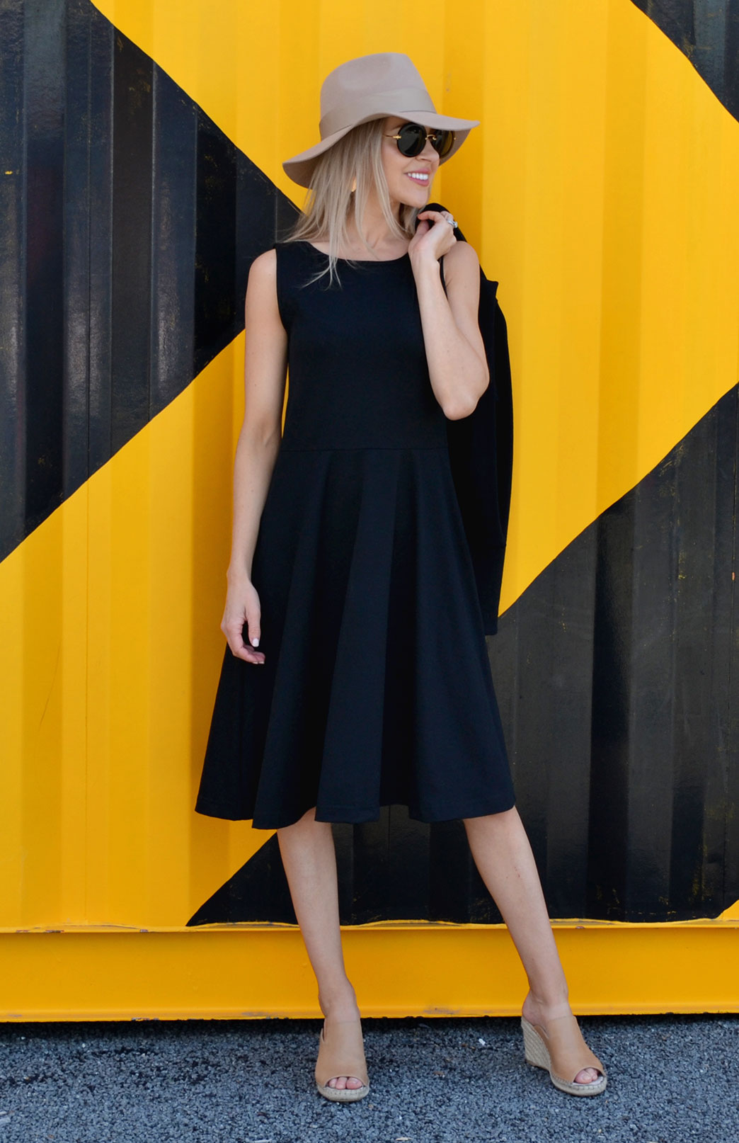 MaryAnn Fit and Flare Dress - Women's Black Merino Wool Sleeveless Dress with Pockets - Smitten Merino Tasmania Australia