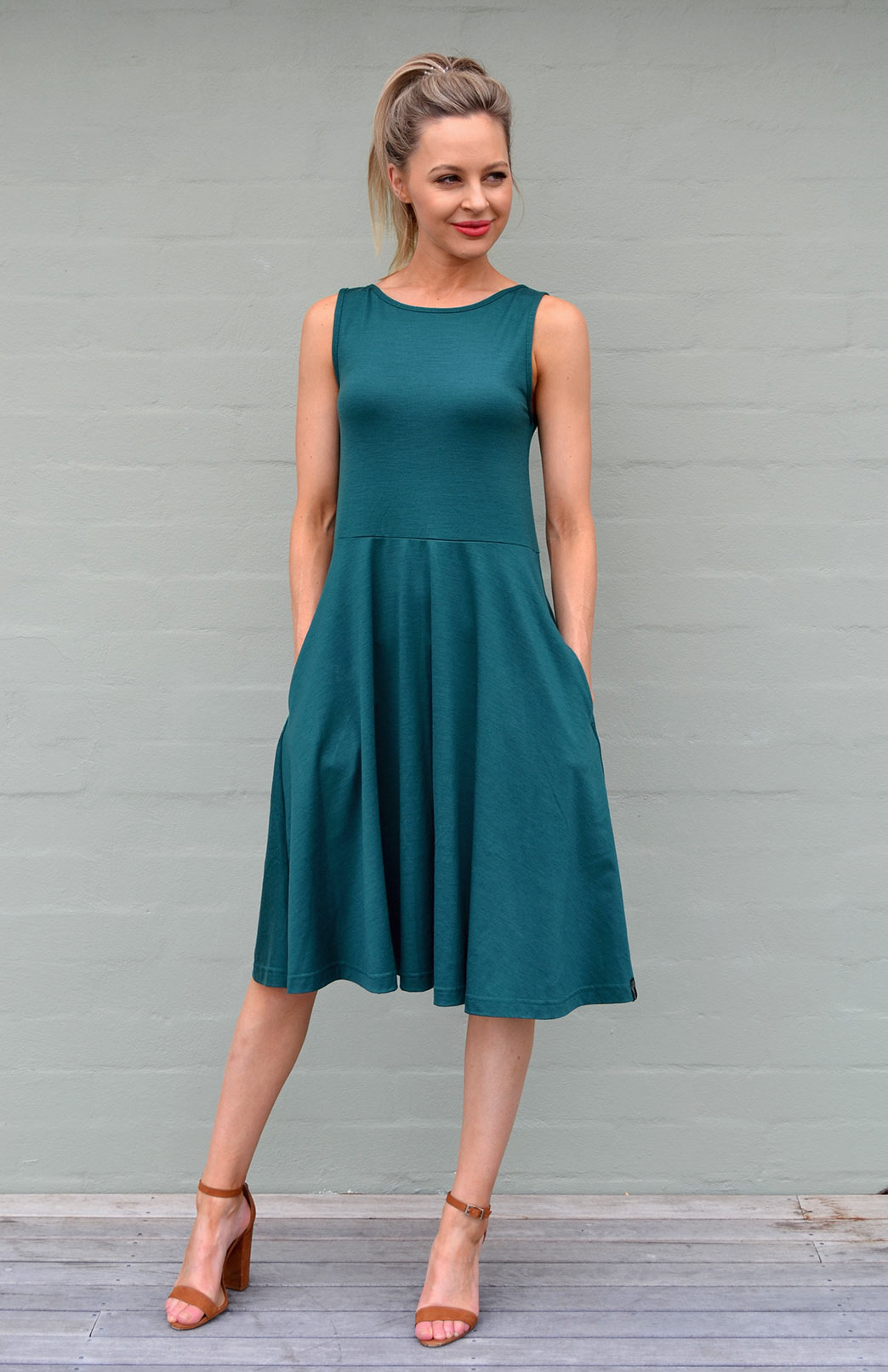 MaryAnn Fit and Flare Dress - Women's Emerald Green Merino Wool Sleeveless Dress with Pockets - Smitten Merino Tasmania Australia