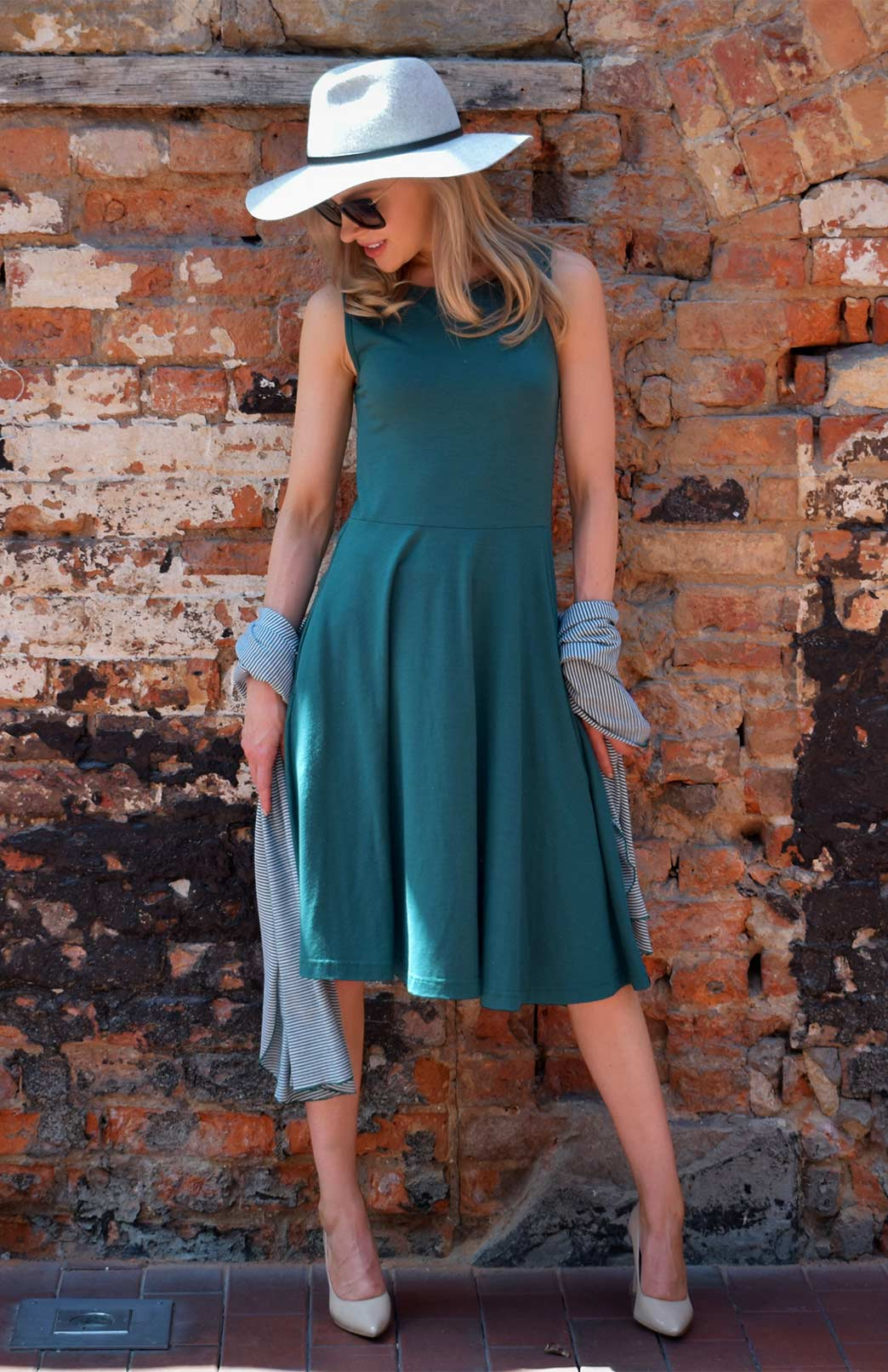 fee9ca3727706 MaryAnn Fit and Flare Dress - Women s Emerald Green Merino Wool Sleeveless  Dress with Pockets -. Enlarge