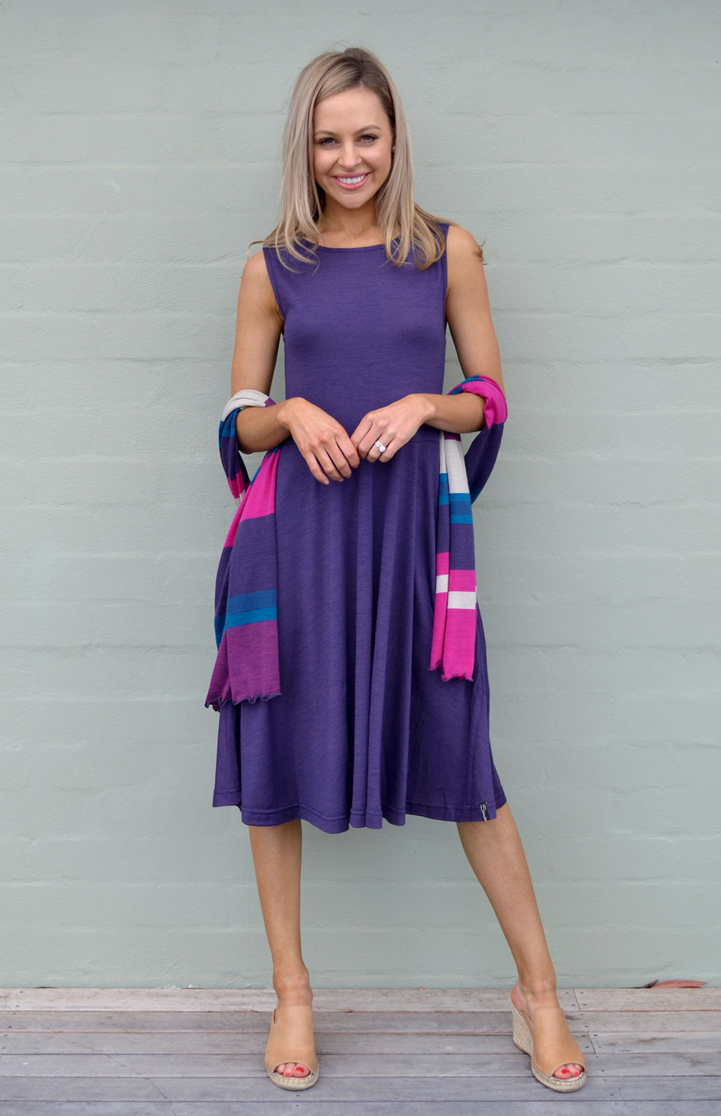 MaryAnn Fit and Flare Dress - Women's Purple Merino Wool Sleeveless Dress with Pockets - Smitten Merino Tasmania Australia