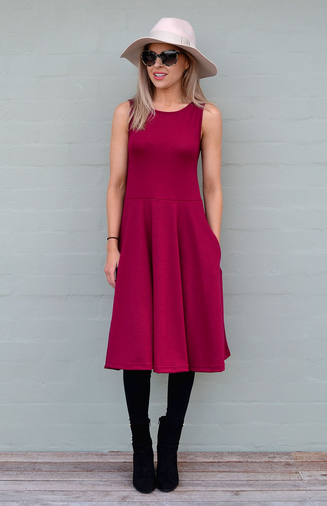 MaryAnn Fit and Flare Dress - Women's Merino Wool Sleeveless Mary Dress with Pockets - Smitten Merino Tasmania Australia