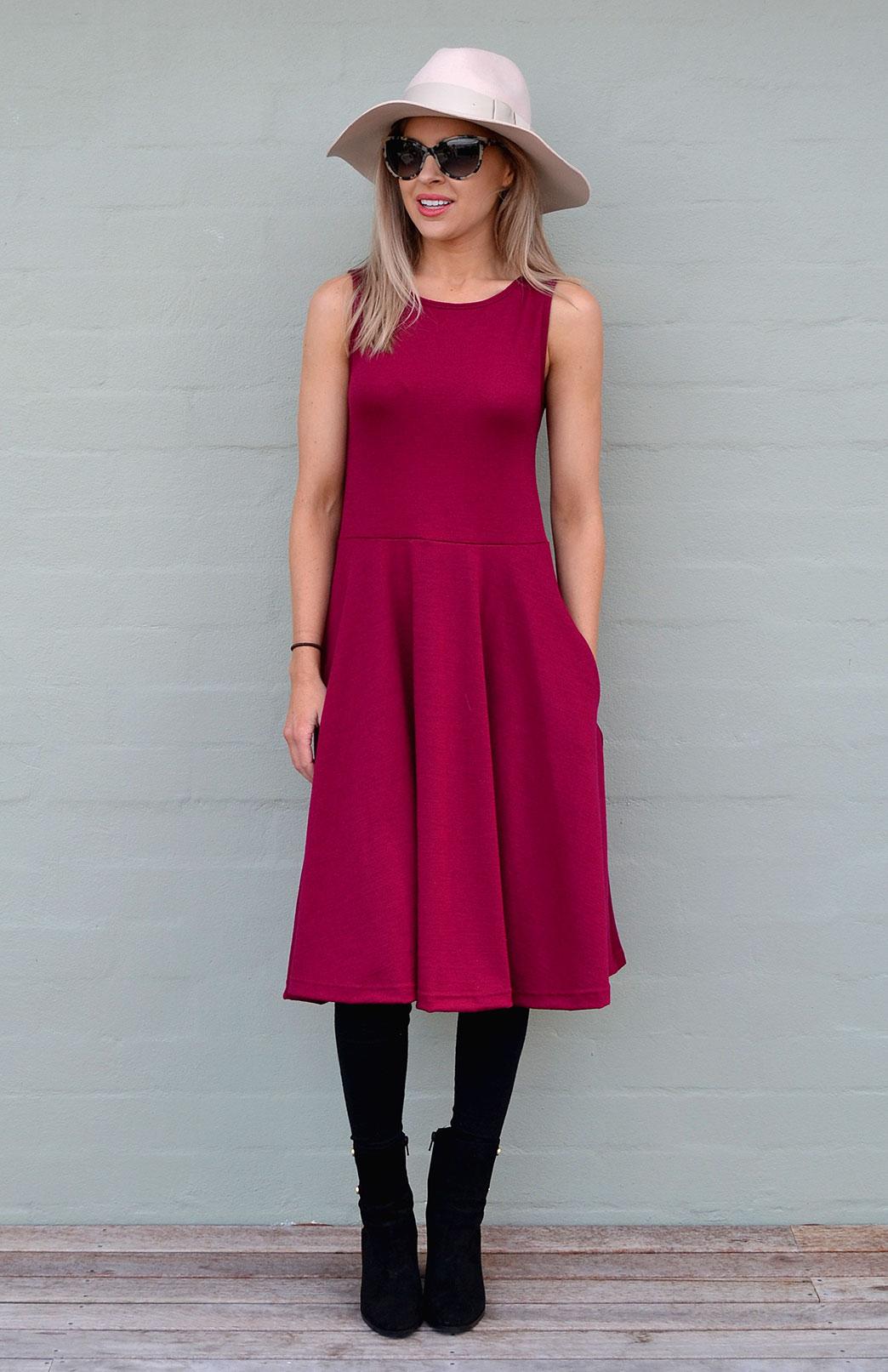 MaryAnn Fit and Flare Dress - Women's Merino Wool Sleeveless Mary Dress with Pockets - Smitten Merino Tasmania Australia