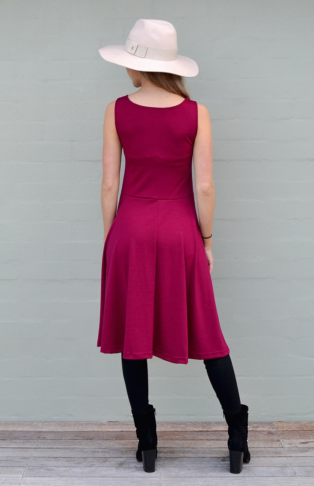 181ad55723c75 MaryAnn Fit and Flare Dress - Women s Merino Wool Sleeveless Mary Dress  with Pockets - Smitten. Enlarge