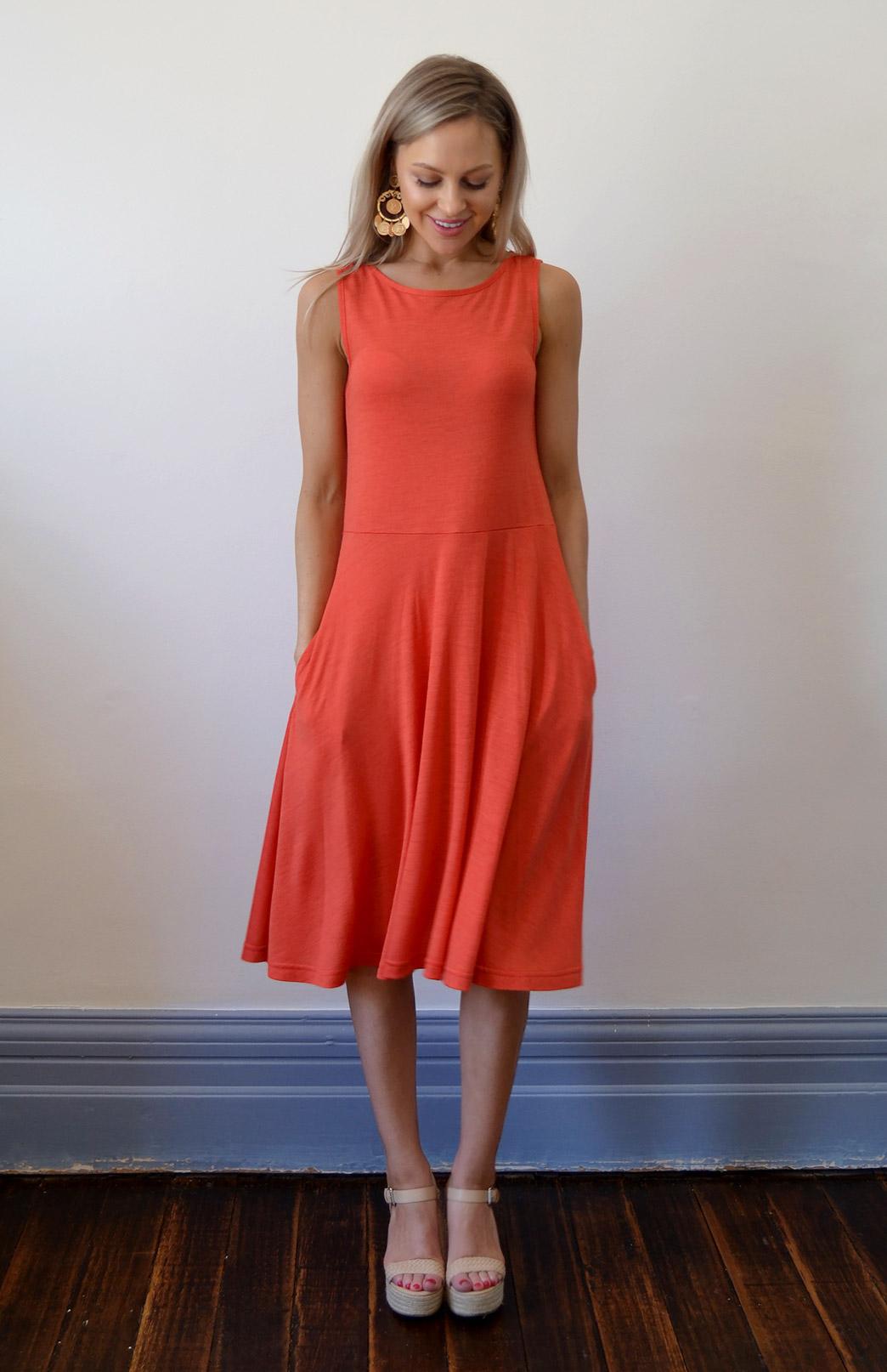MaryAnn Fit and Flare Dress (SECONDS) - Women's Merino Wool Sleeveless Mary Dress with Pockets - Smitten Merino Tasmania Australia