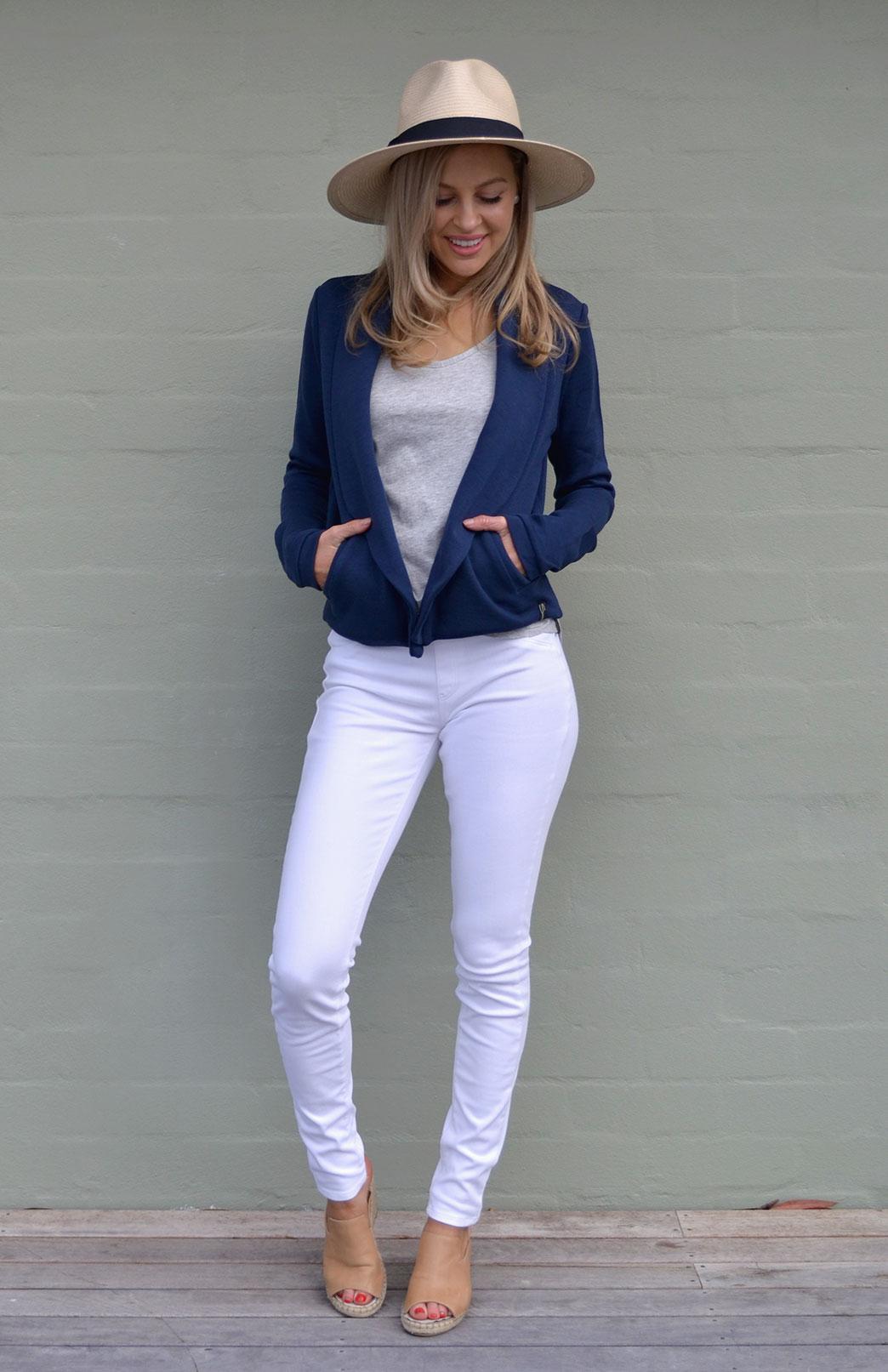Lapel Jacket - Heavyweight - Women's Indigo Blue Wool Lapel Jacket with side pockets and long sleeves - Smitten Merino Tasmania Australia