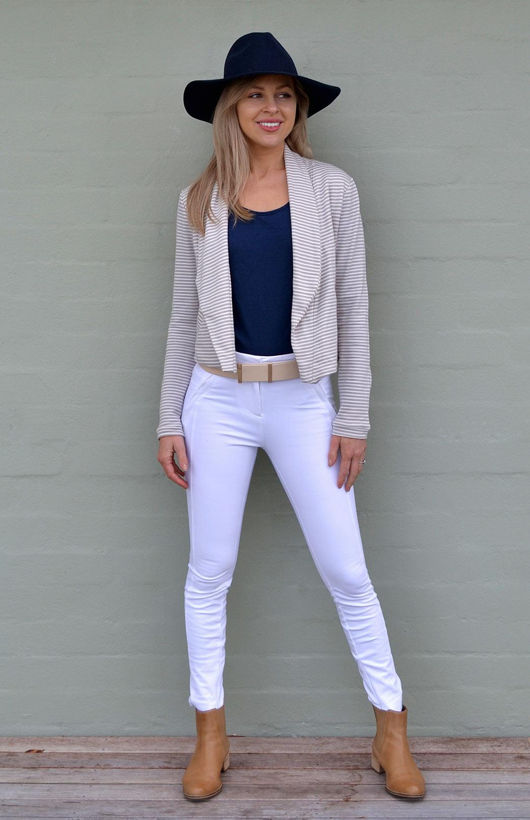 Lapel Jacket - Women's Merino Wool Organic Cotton Blend Striped Lapel Jacket - Smitten Merino Tasmania Australia