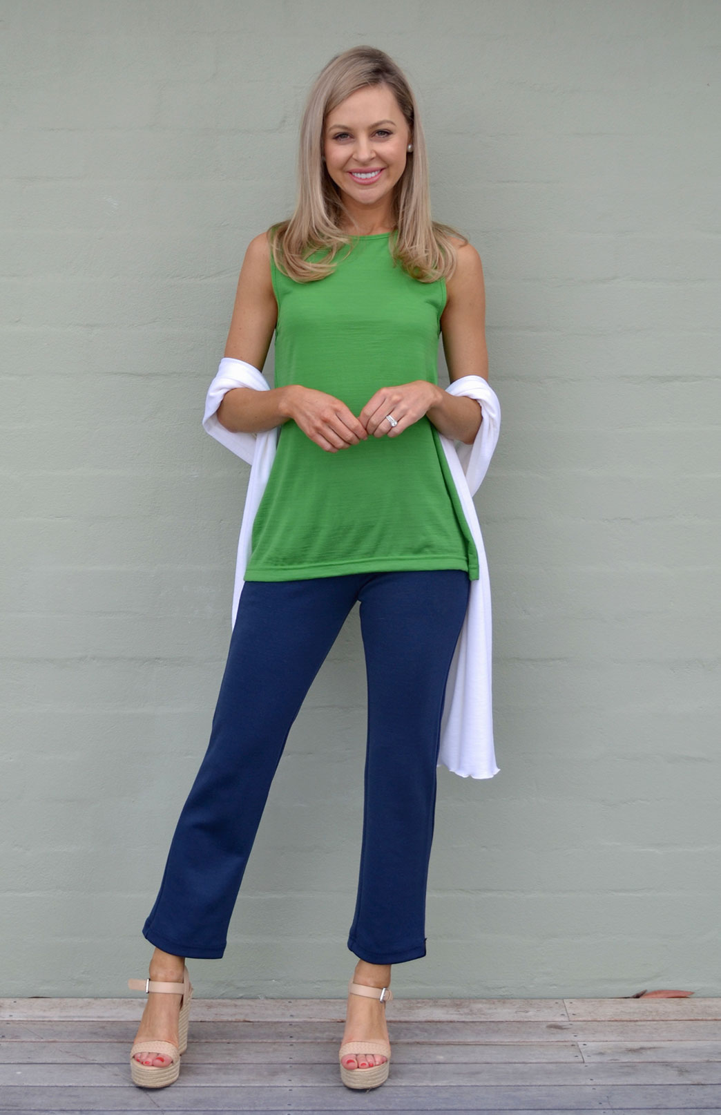Capri Top - Women's Green Sleeveless Merino Wool Tank Top with High Neckline - Smitten Merino Tasmania Australia