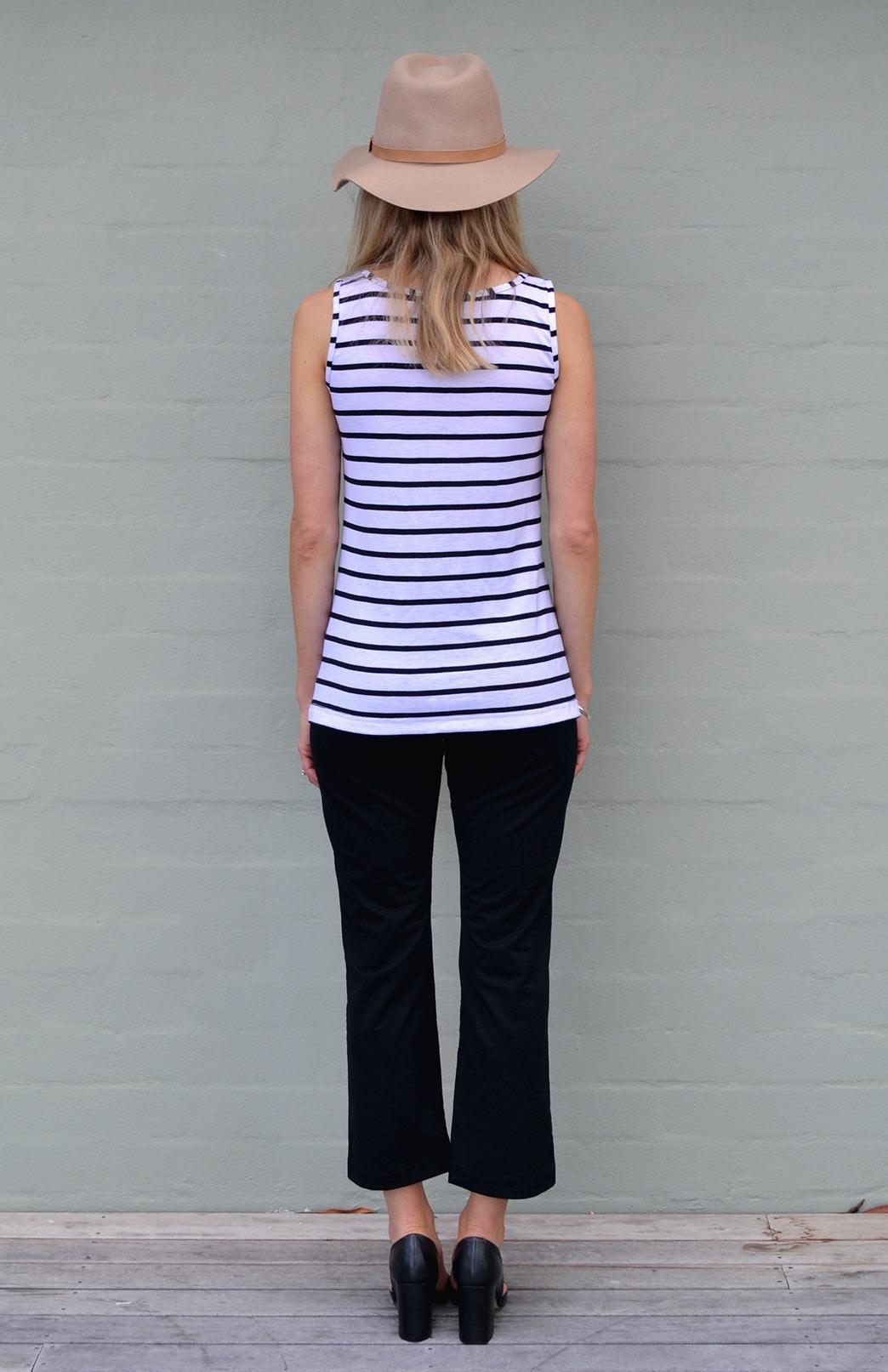 Capri Top Women S White And Black Striped Merino Wool