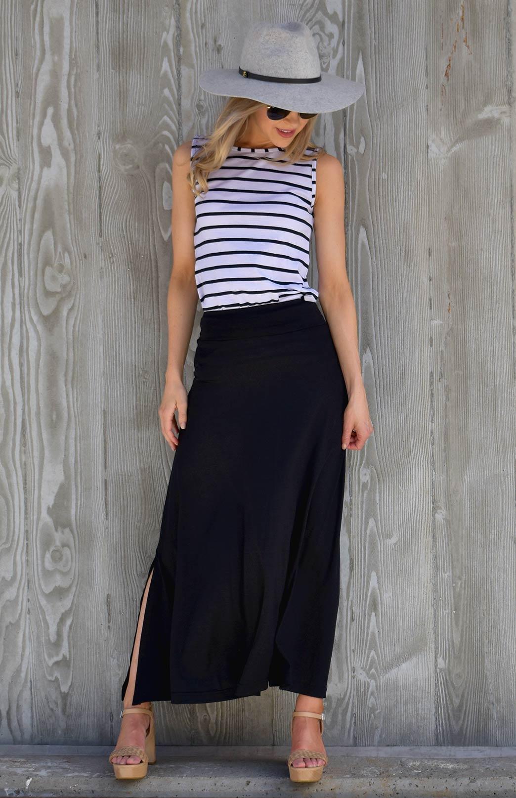 Marion Skirt - Women's Black Merino Wool Maxi Skirt - Smitten Merino Tasmania Australia