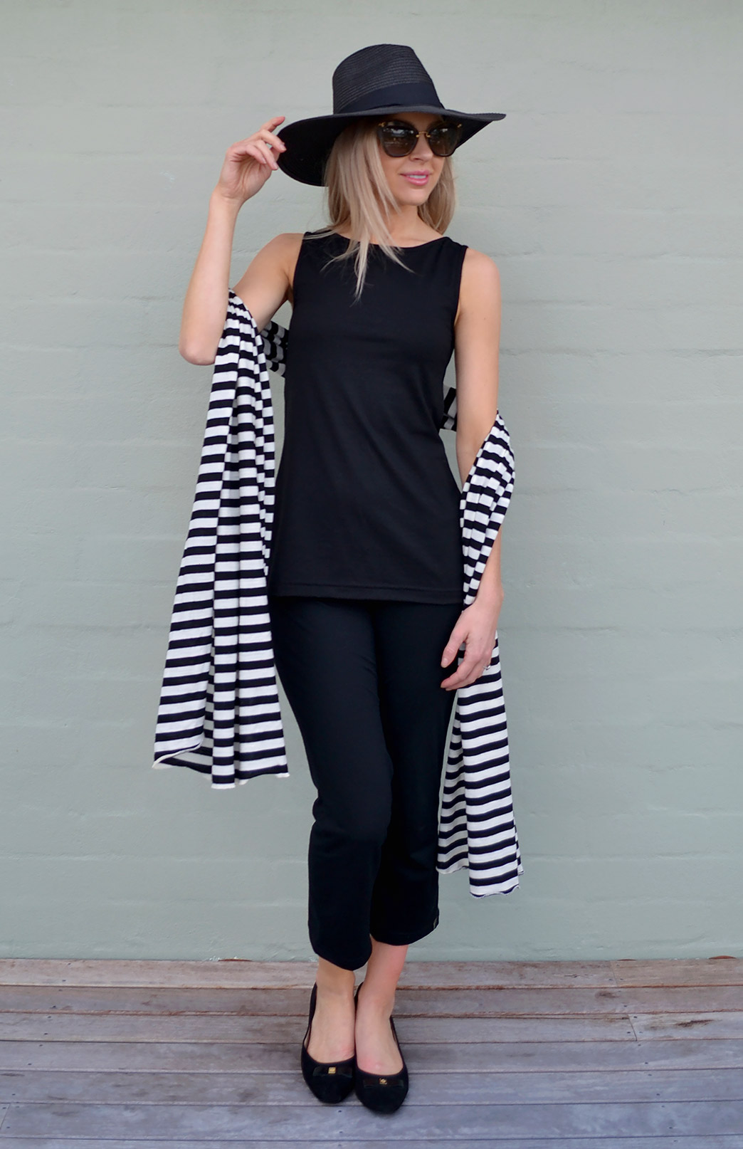 Capri Tank Top - Women's Black Merino Sleeveless Summer Top - Smitten Merino Tasmania Australia